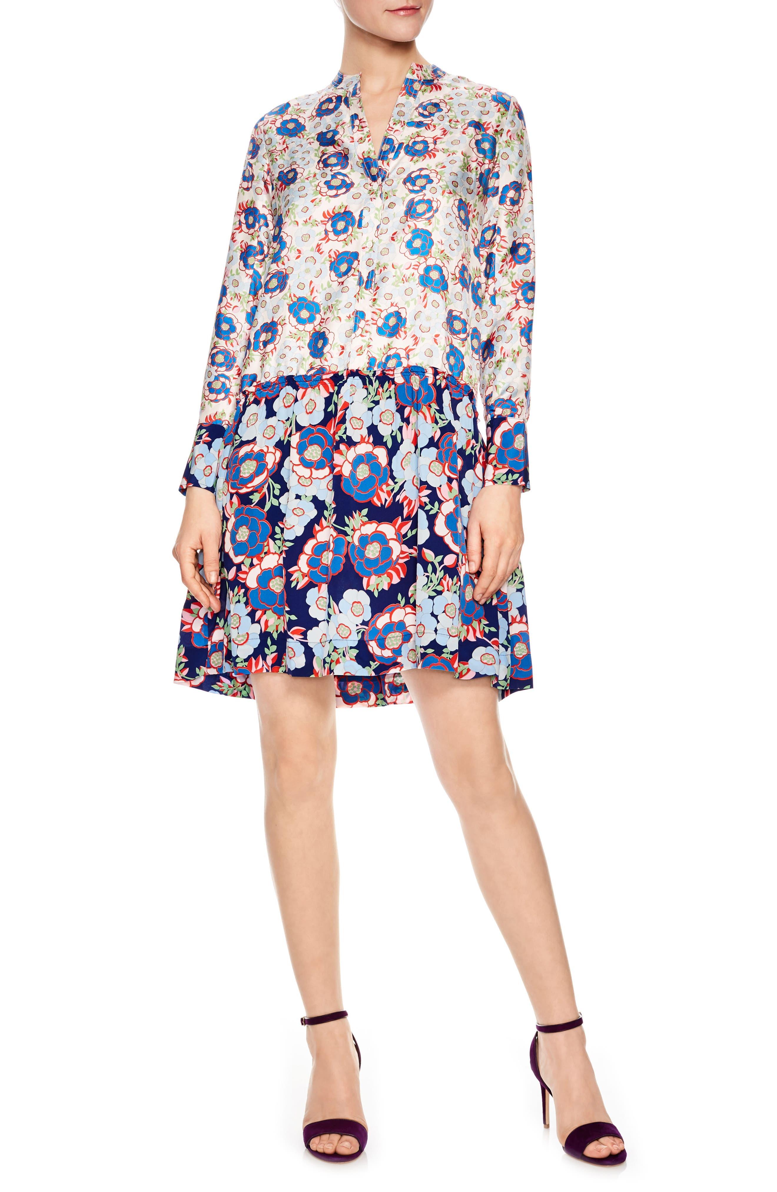 Multicolor Pattern Silk Dress,                             Main thumbnail 1, color,                             Multi-Color