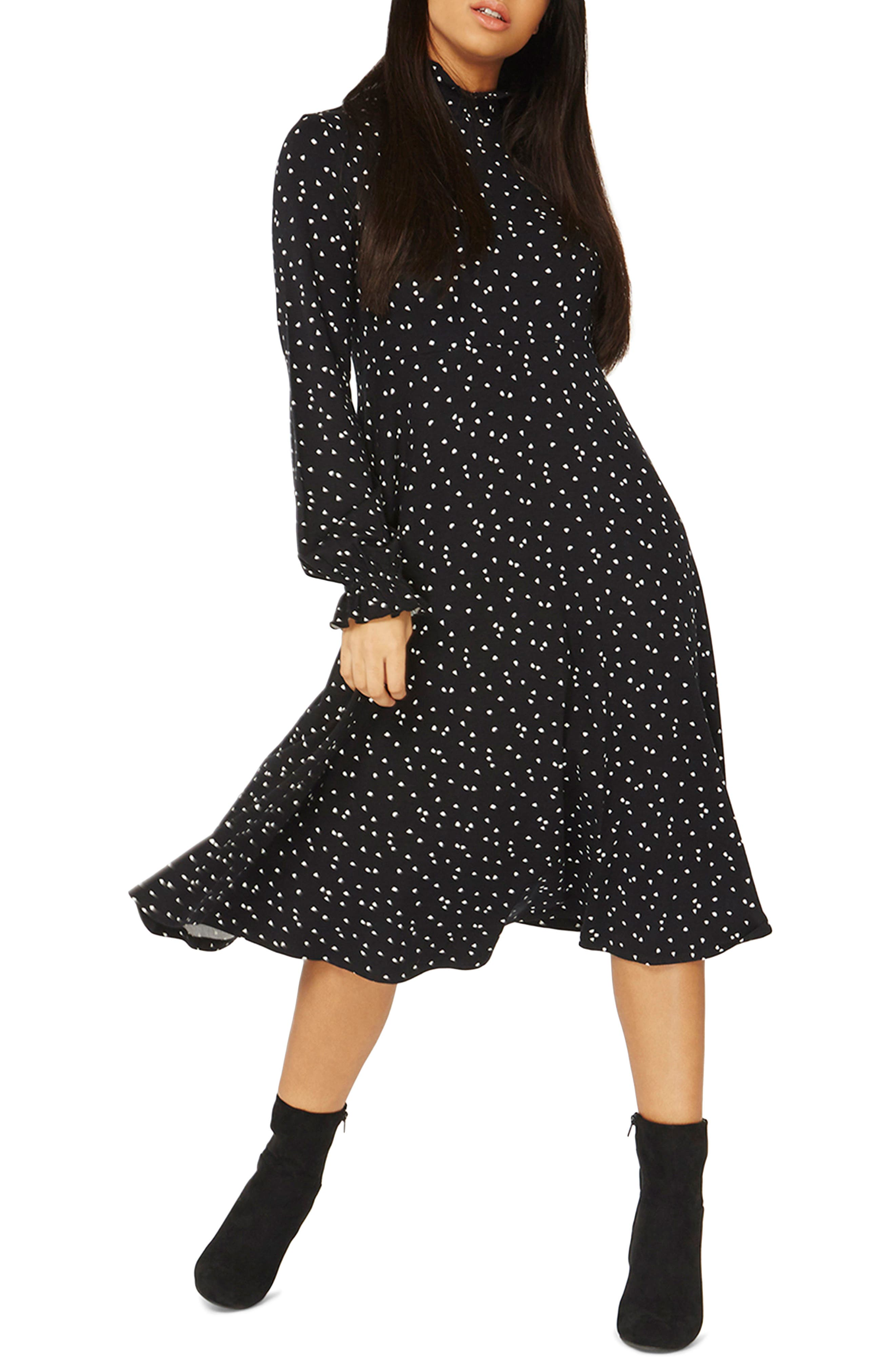 Heart Midi Dress,                         Main,                         color, Black