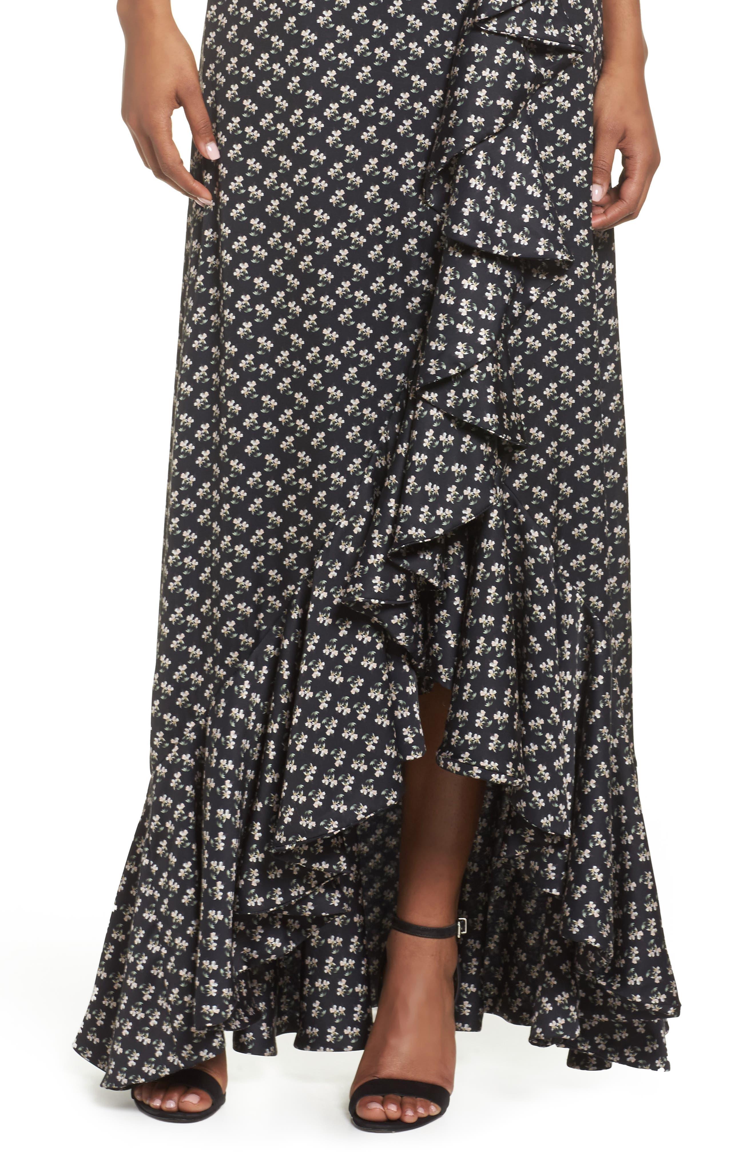 One-Shoulder Ruffle Gown,                             Alternate thumbnail 4, color,                             Kiera Print