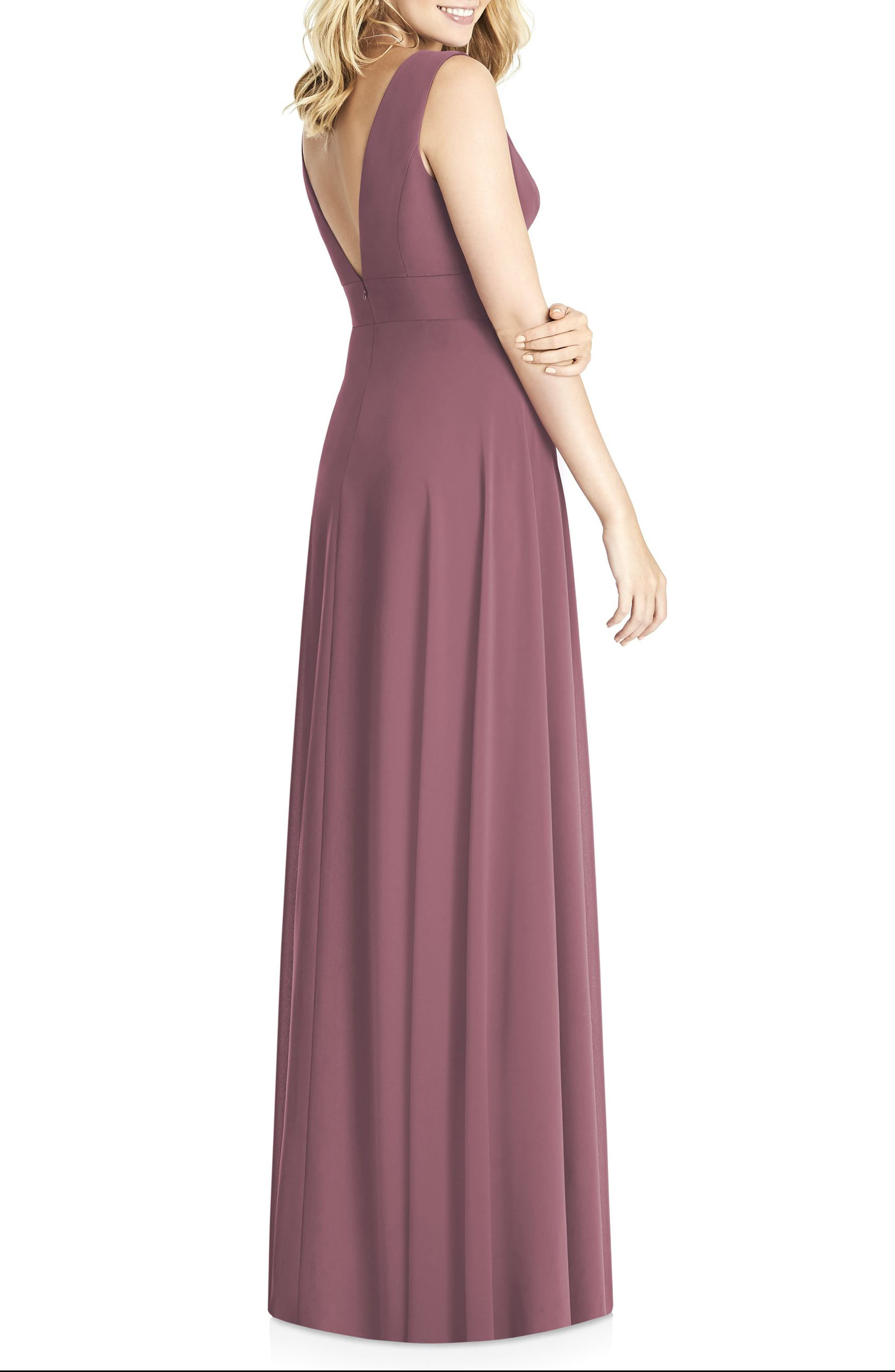 Matte Chiffon Gown,                             Alternate thumbnail 2, color,                             English Rose