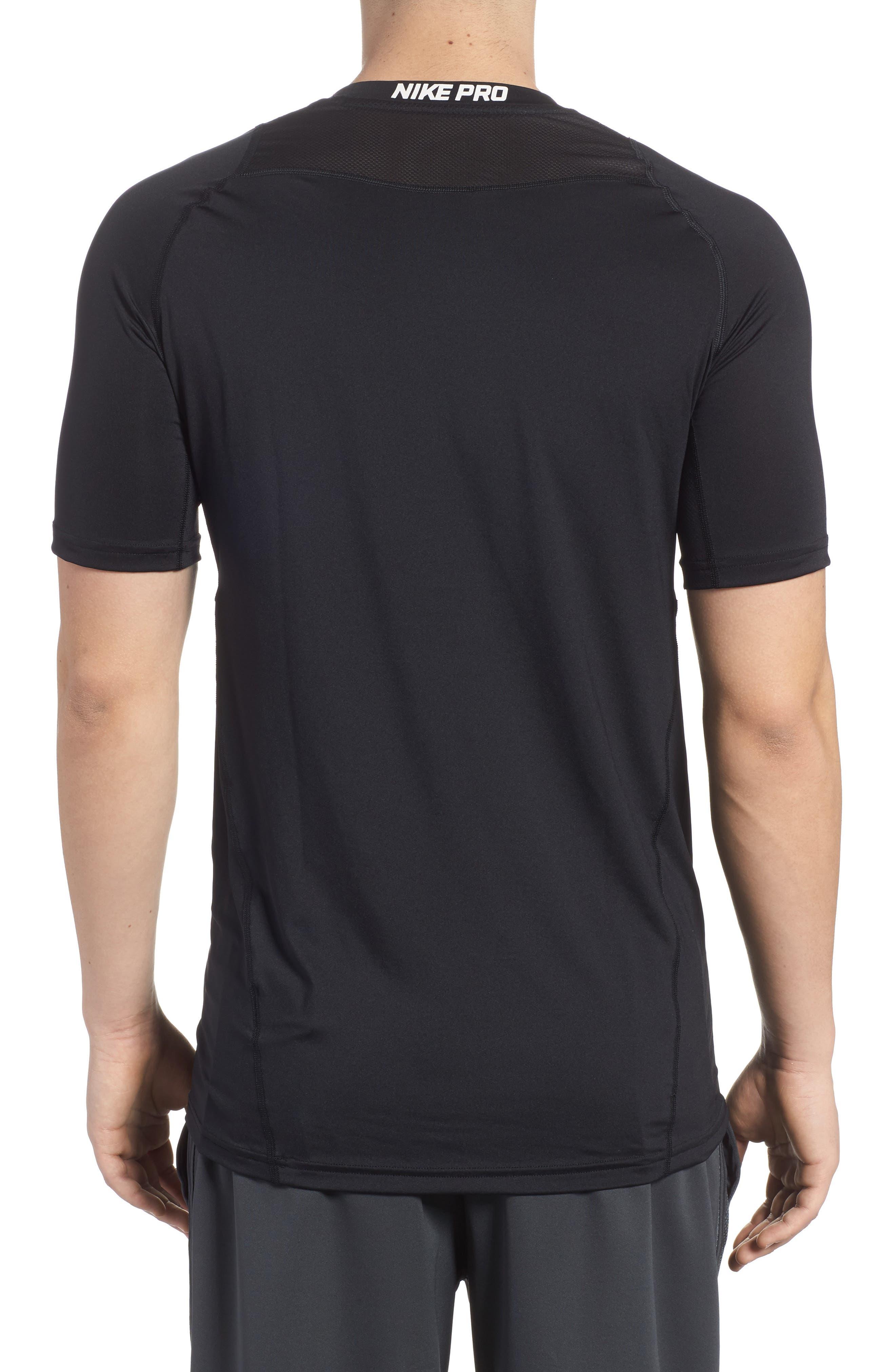 Pro Fitted T-Shirt,                             Alternate thumbnail 2, color,                             Black/White/White