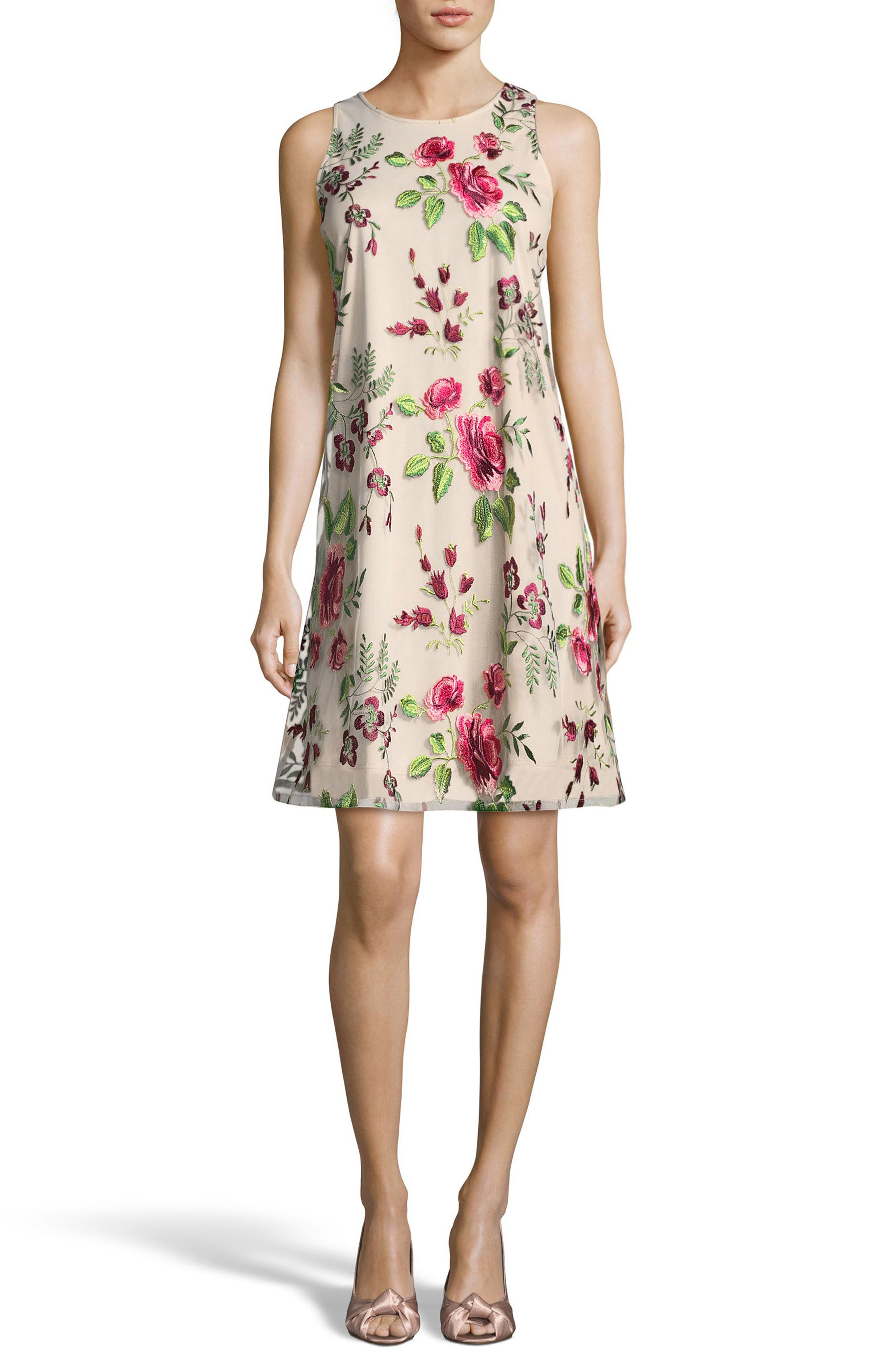 Floral Embroidered A-Line Dress,                         Main,                         color, Pink/ Green