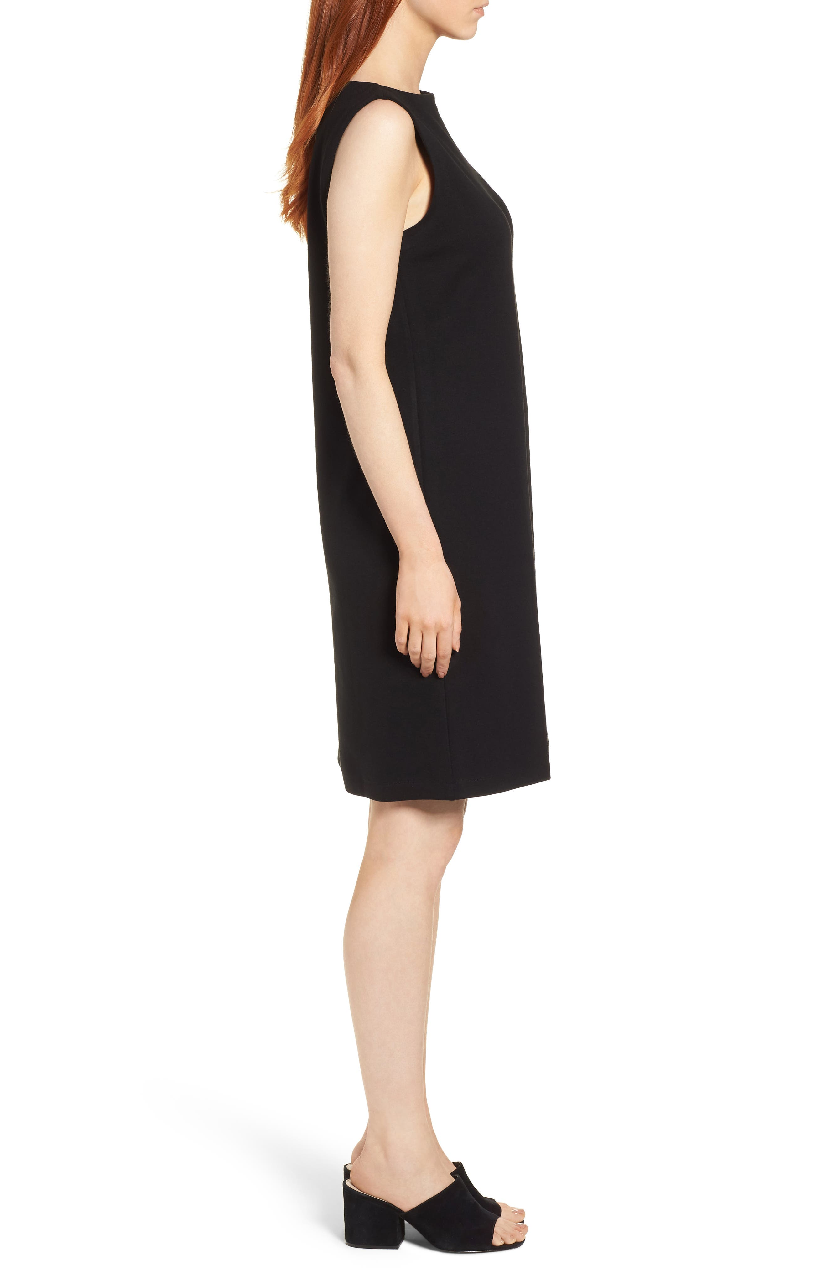 Tencel<sup>®</sup> Lyocell Blend Shift Dress,                             Alternate thumbnail 3, color,                             Black