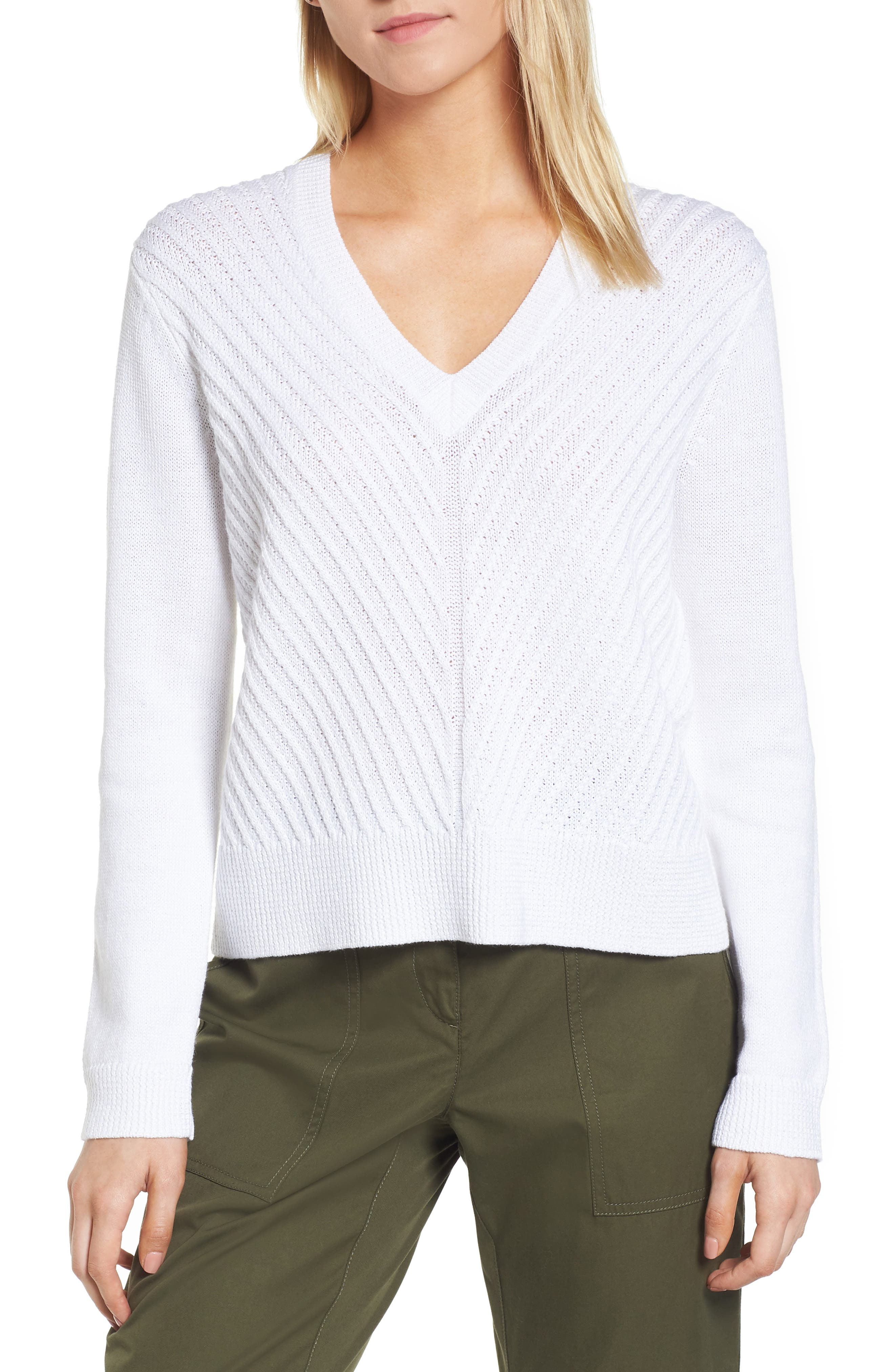 Textured Front V-Neck Sweater,                             Main thumbnail 1, color,                             White