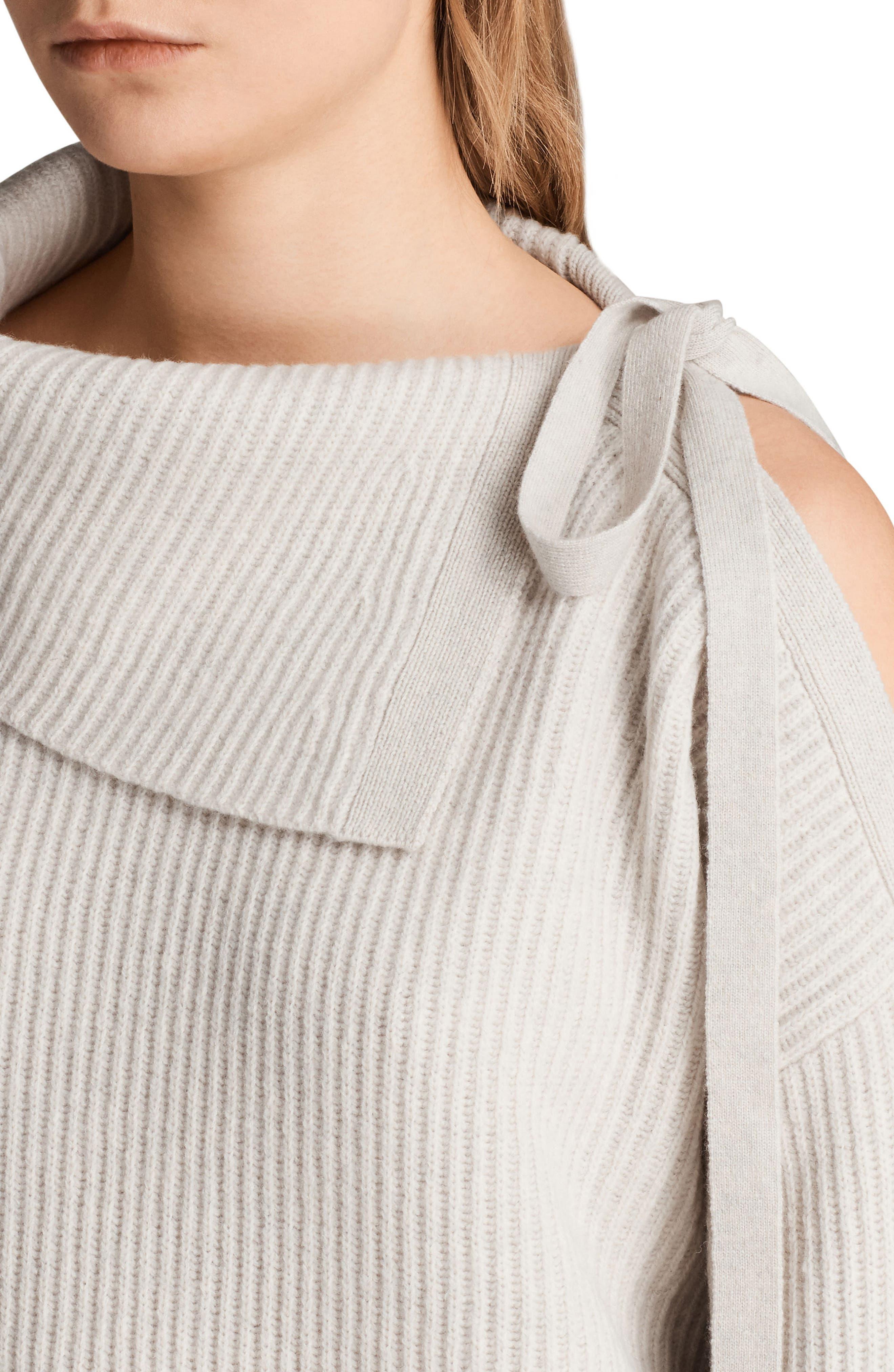 Sura Tie Neck Sweater,                             Alternate thumbnail 4, color,                             Wild Oat