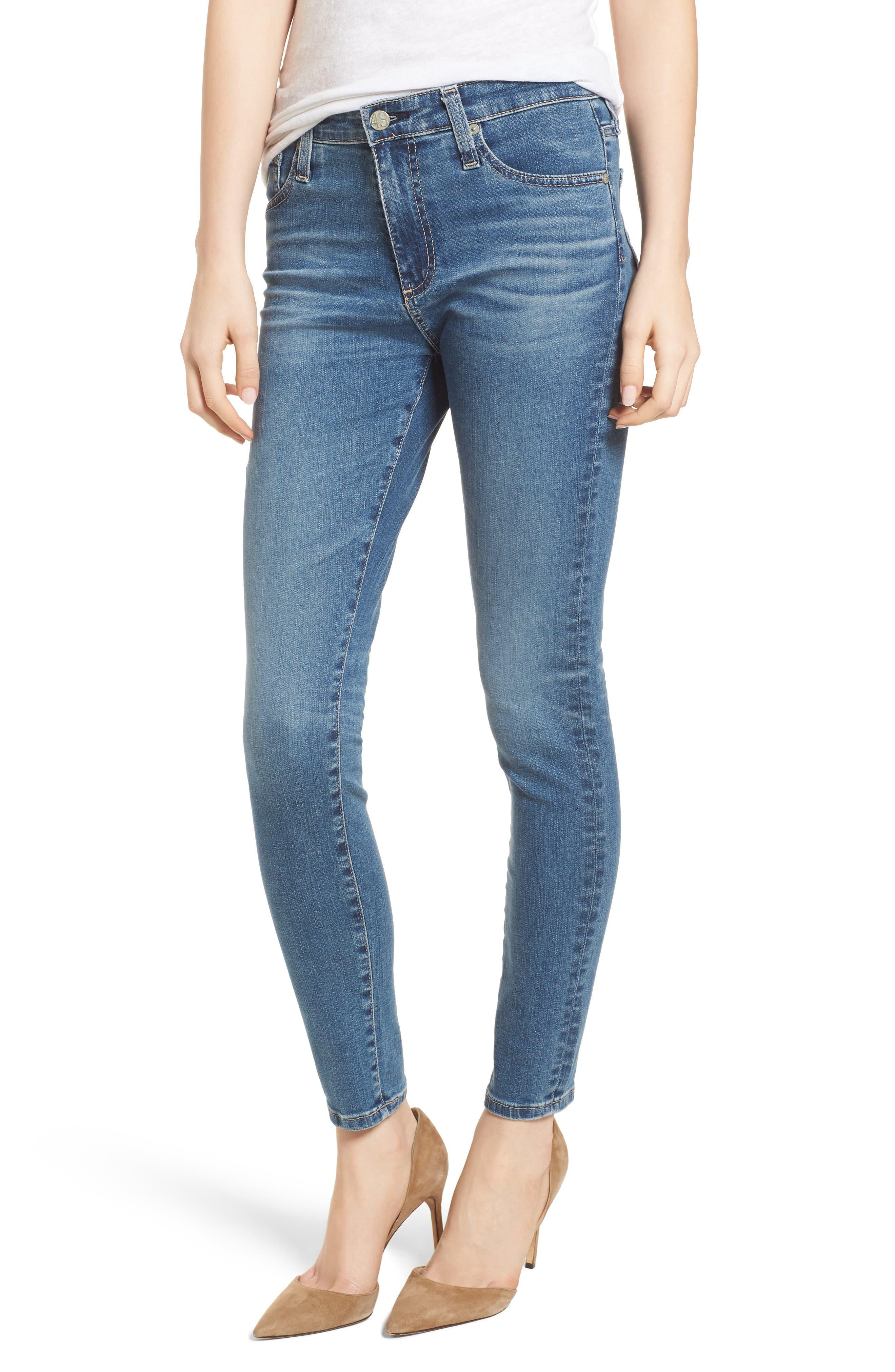 AG The Farrah High Waist Ankle Skinny Jeans (10 Years Sea Mist)
