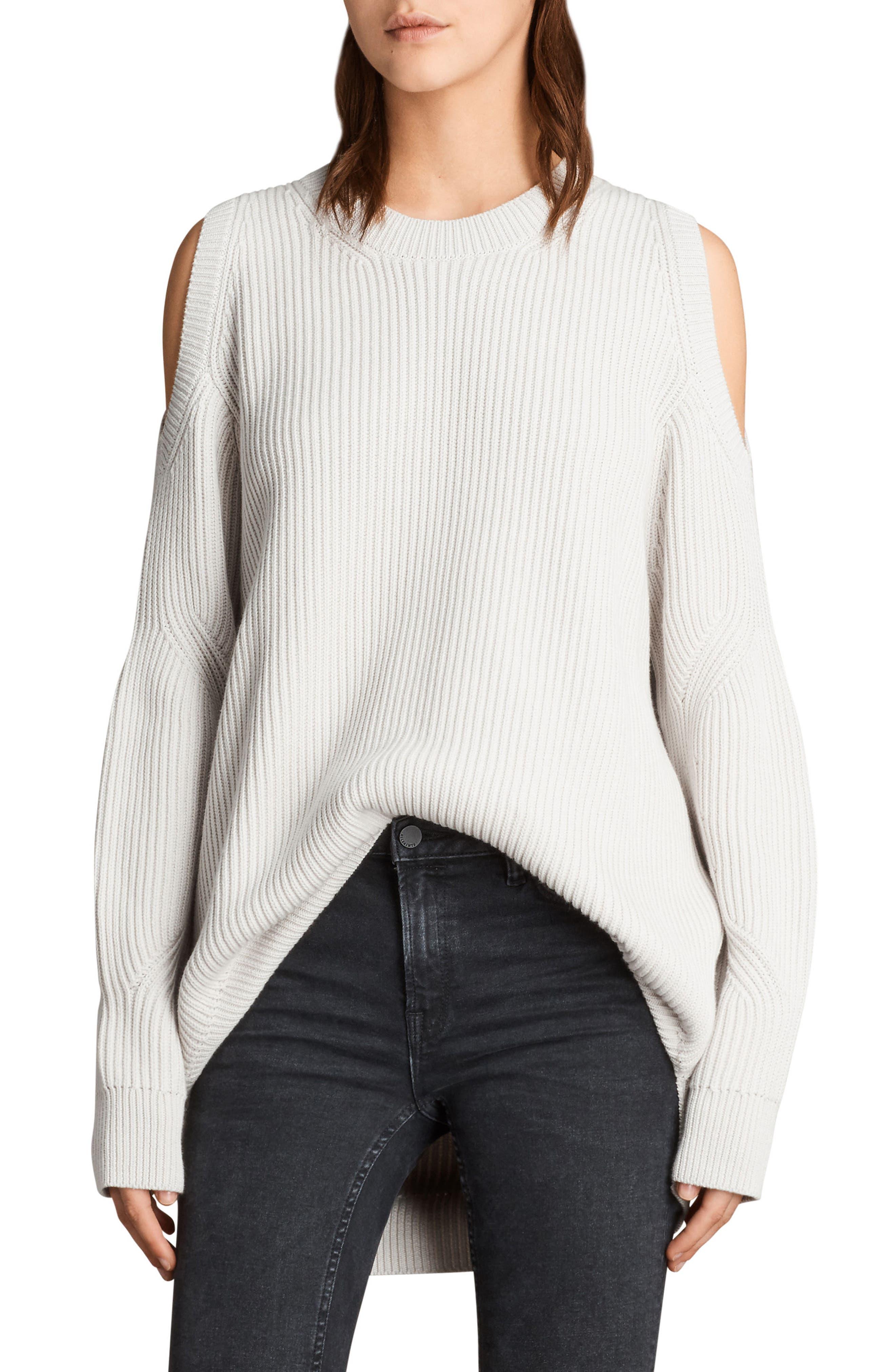 Lizzie Sweater,                         Main,                         color, Grain White