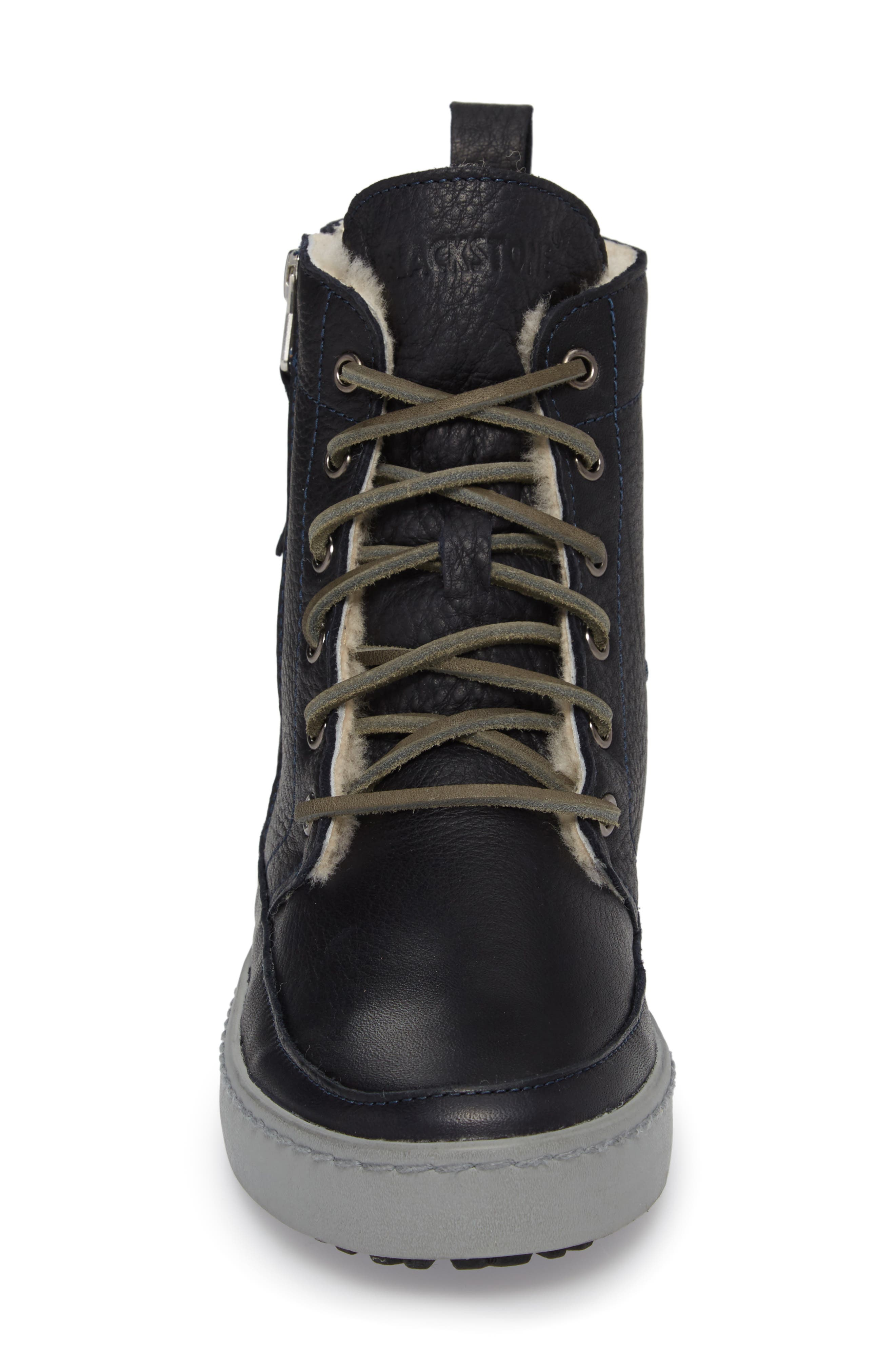 'CW96' Genuine Shearling Lined Sneaker Boot,                             Alternate thumbnail 4, color,                             Dark Indigo Leather