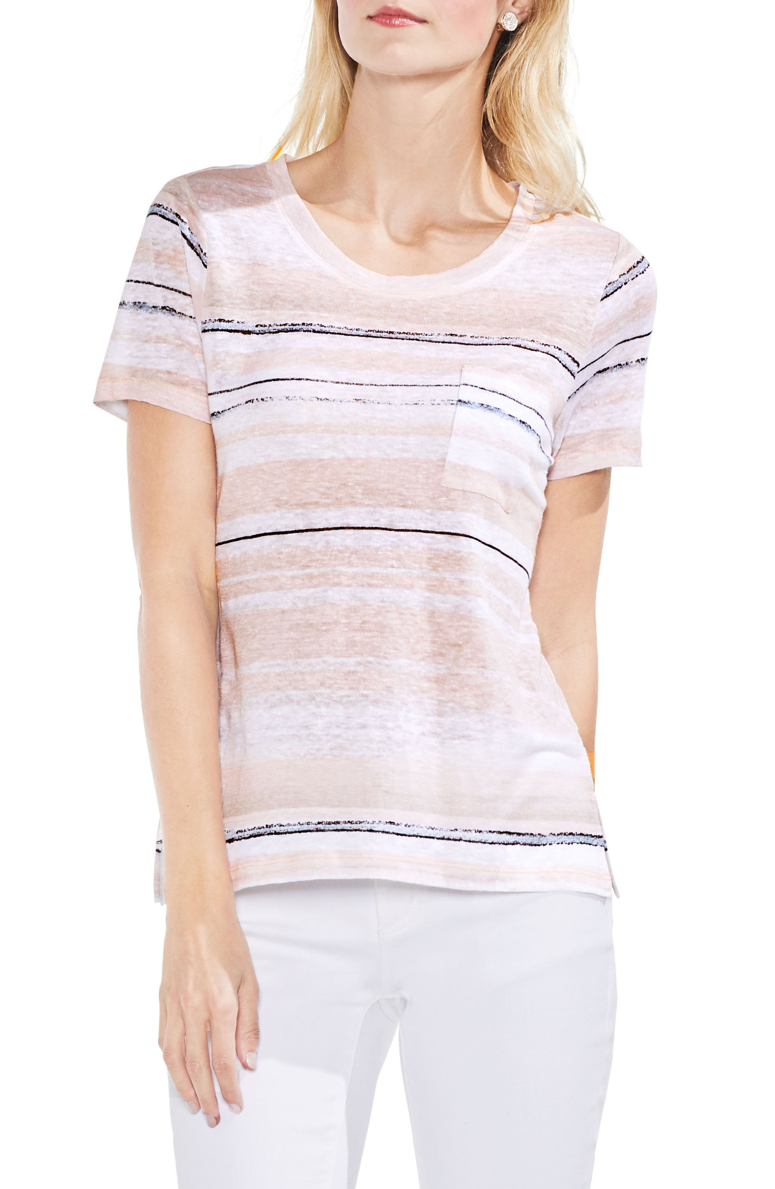 Soft Dunes Stripe Tee,                         Main,                         color, French Peach
