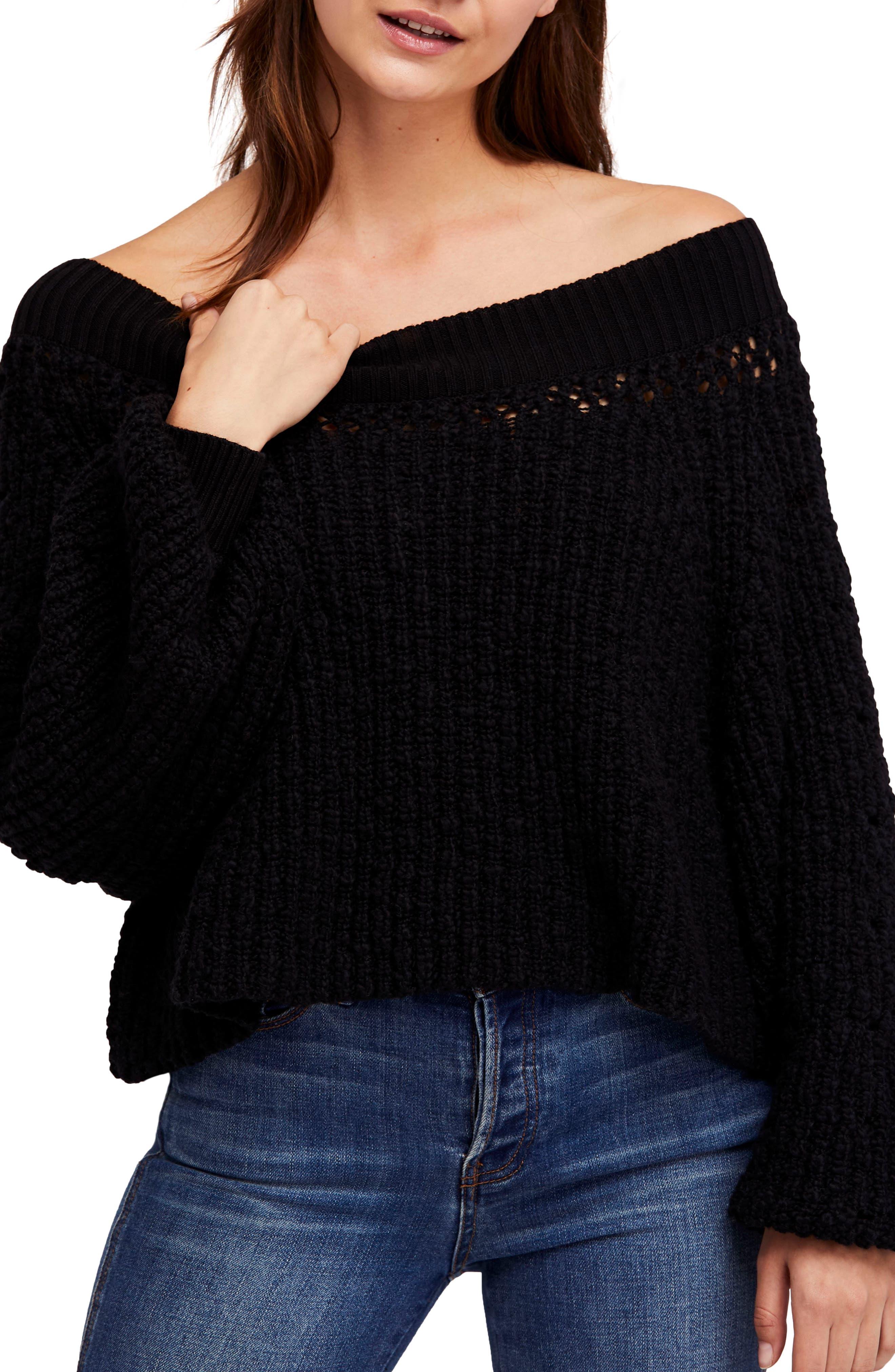 Pandora's Boatneck Sweater,                             Main thumbnail 1, color,                             Black