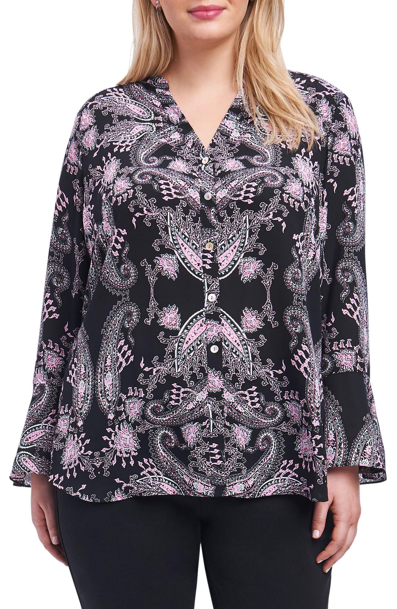 Main Image - Foxcroft Ali Dolce Vita Bell Sleeve Shirt (Plus Size)