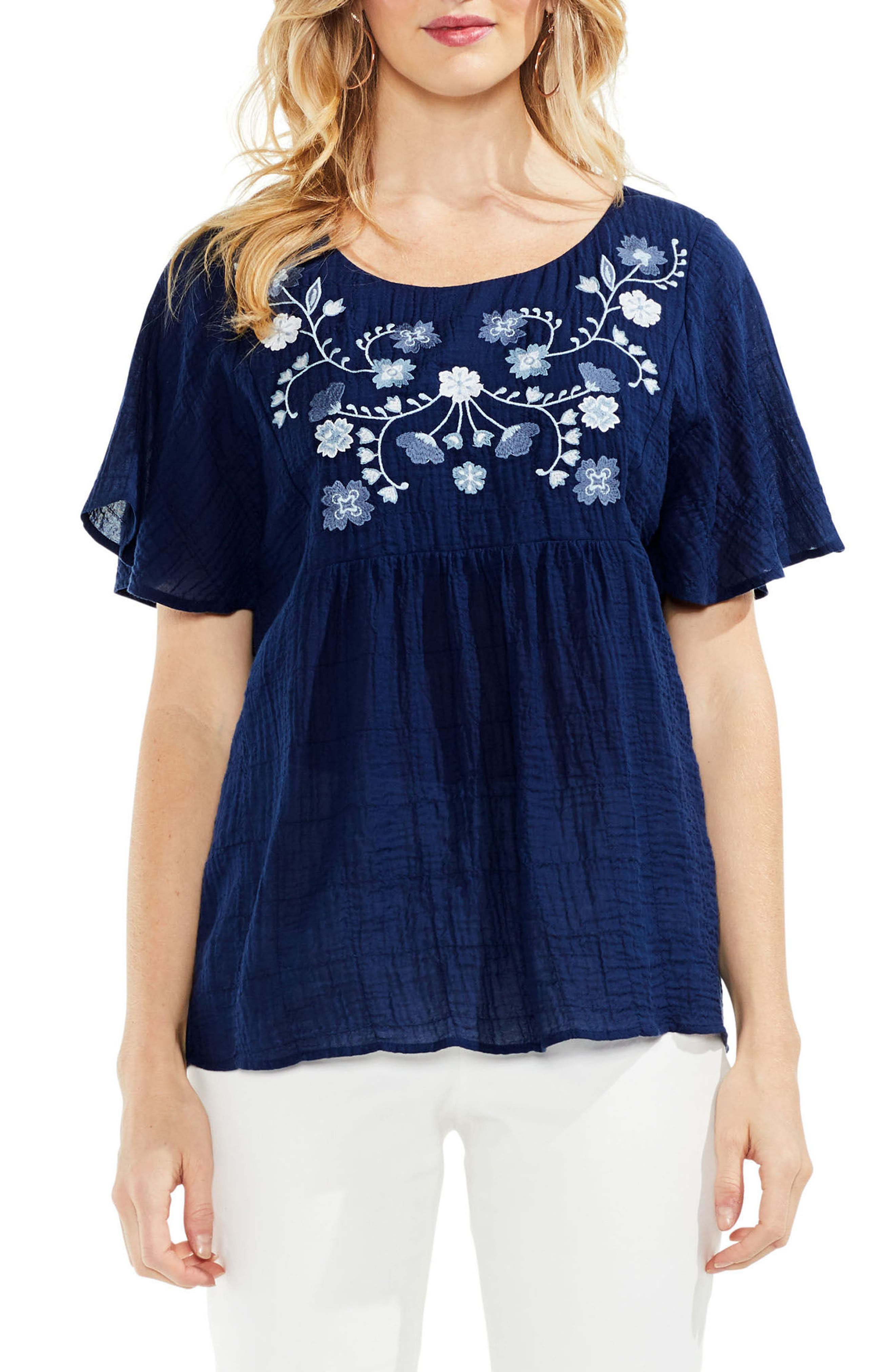 Embroidered Flutter Sleeve Blouse,                         Main,                         color, High Tide