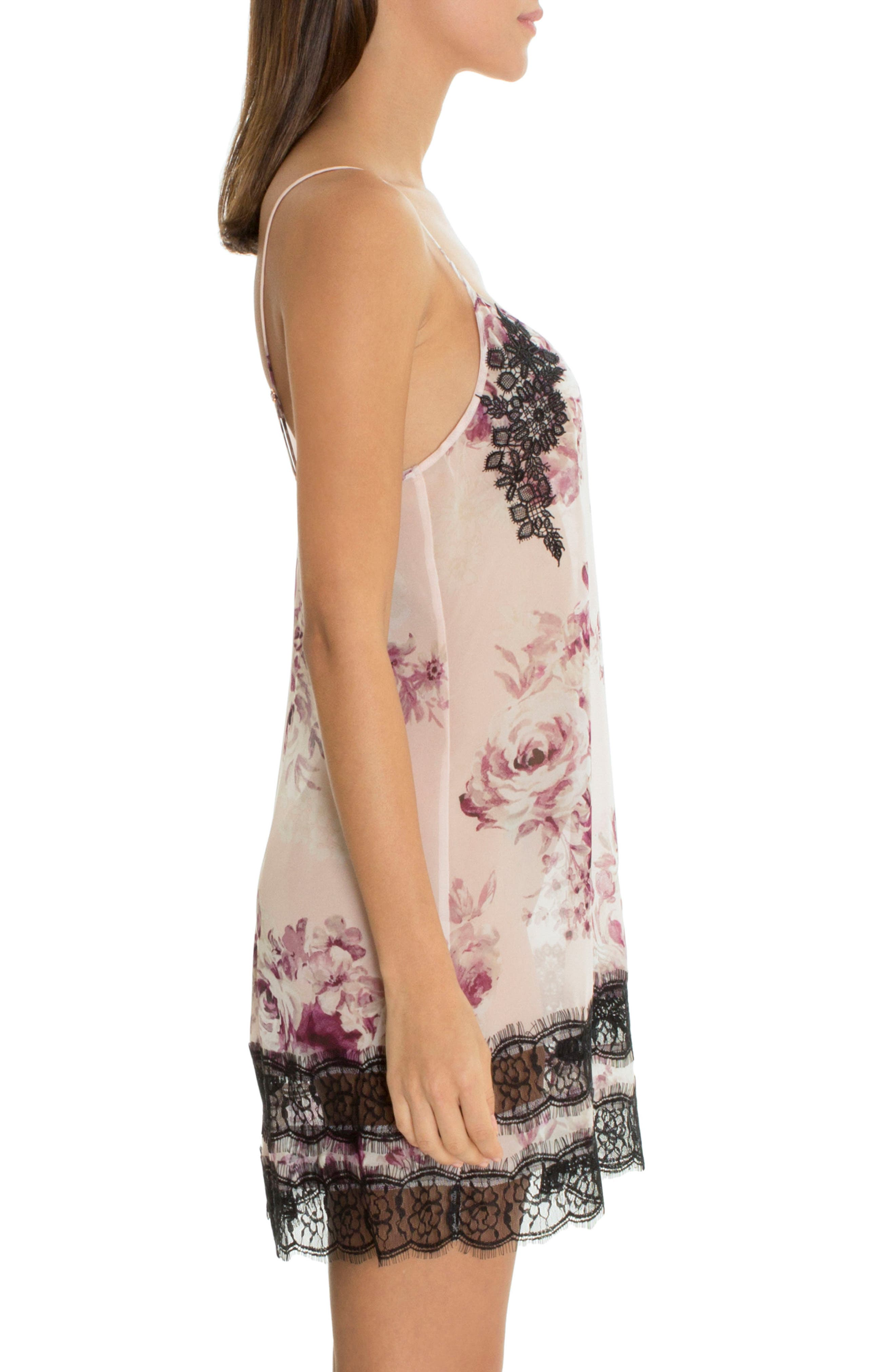 Lace Trim Satin Chemise,                             Alternate thumbnail 3, color,                             Simone Print-Mauve Ground