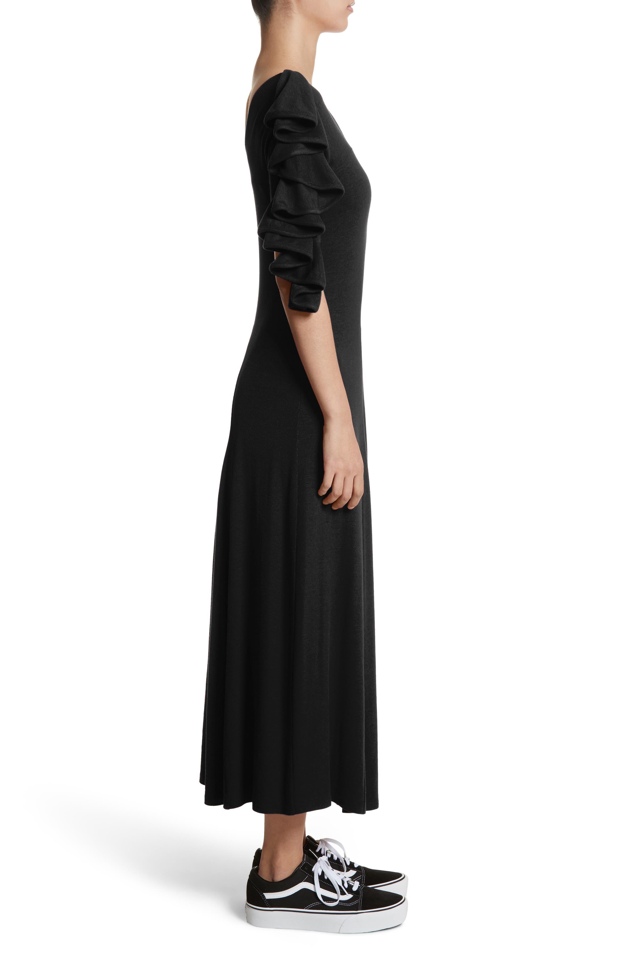 Dione One-Shoulder Dress,                             Alternate thumbnail 3, color,                             Black