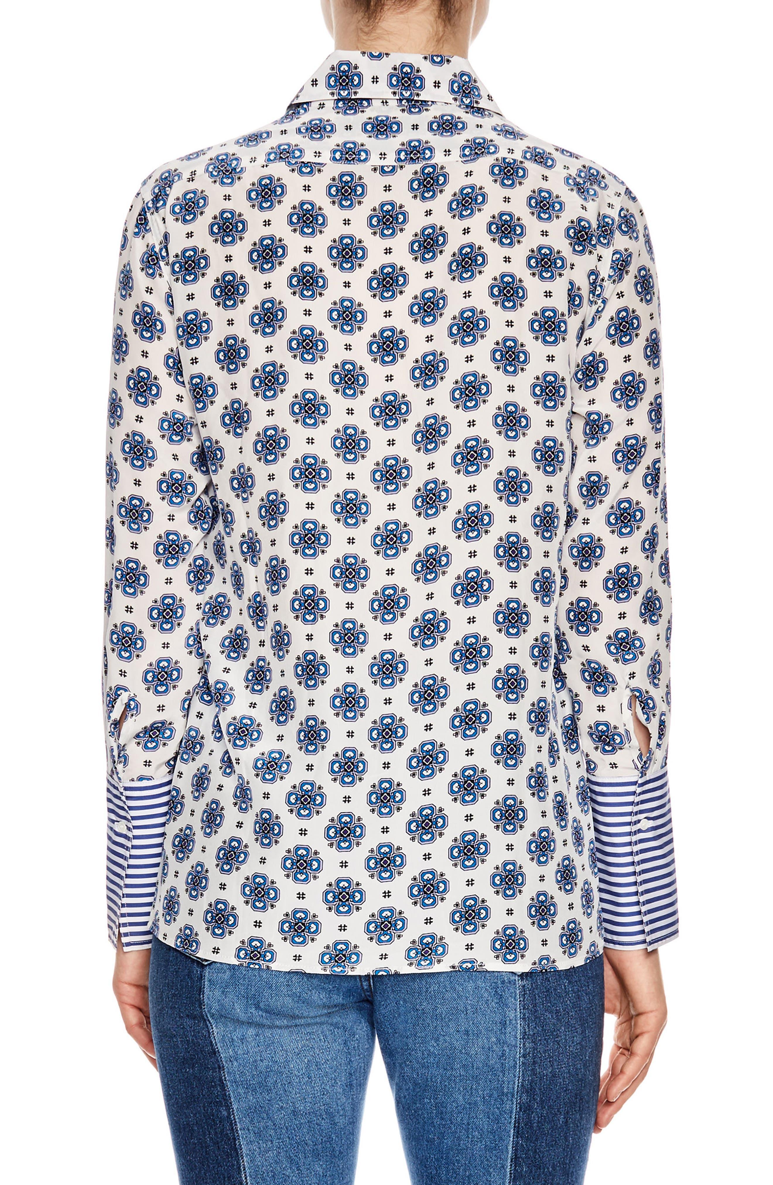 Print Silk Shirt,                             Alternate thumbnail 2, color,                             White