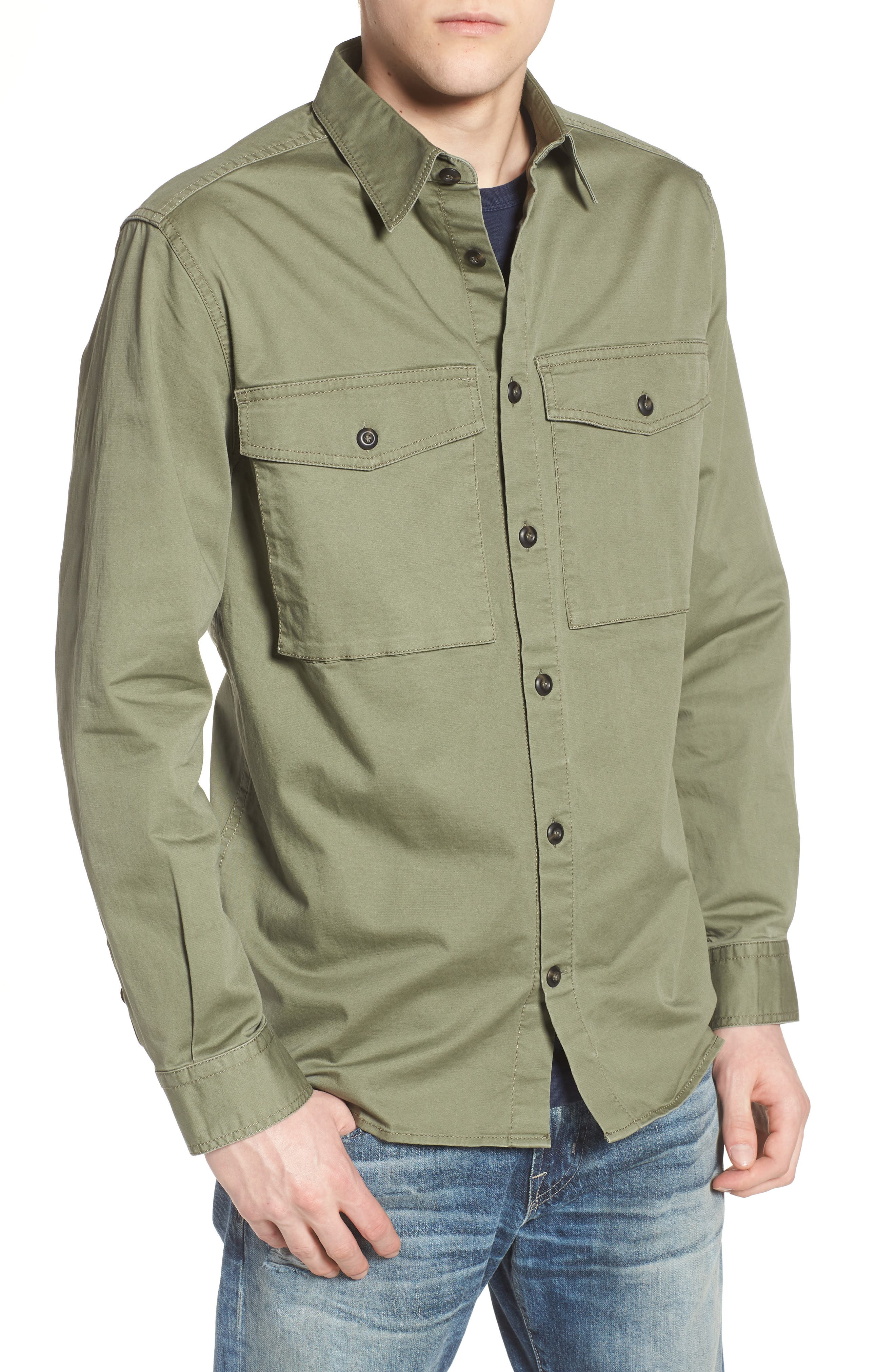 Twill Military Shirt Jacket,                             Alternate thumbnail 4, color,                             Deep Lichen Green