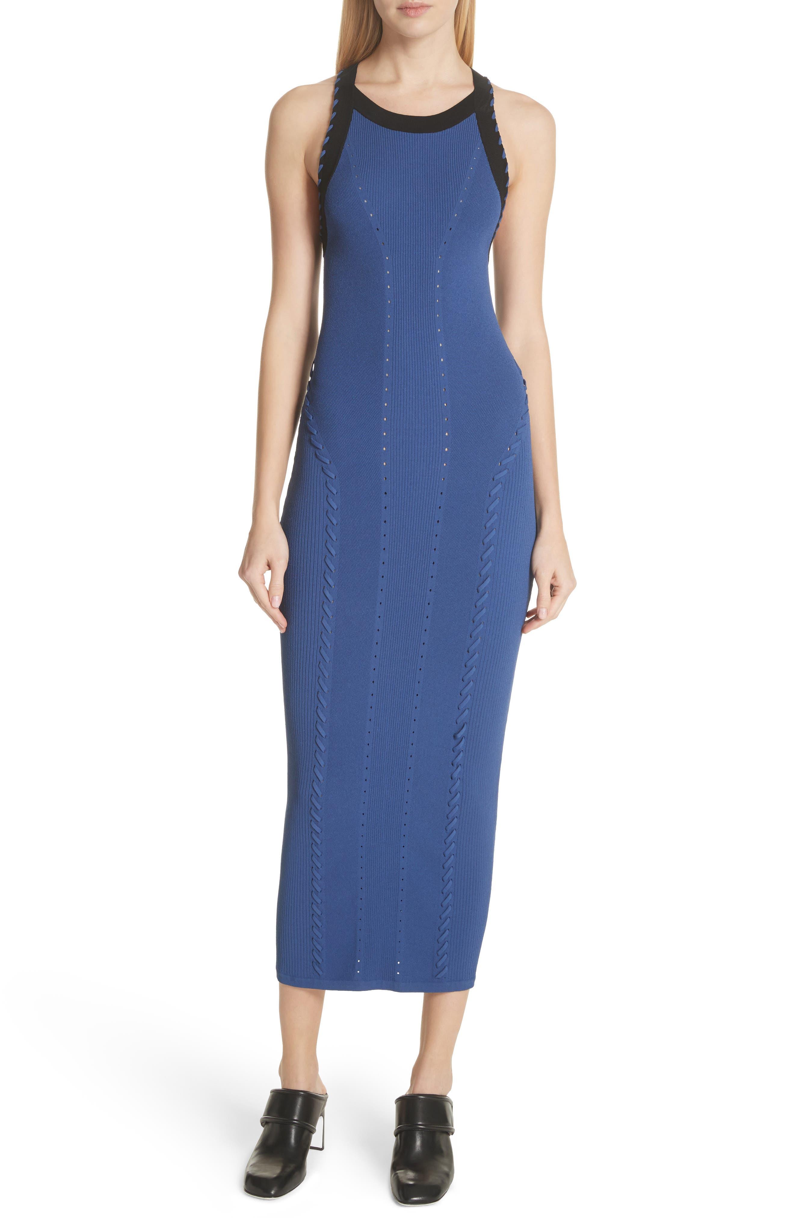 Brandy Whipstitch Detail Midi Dress,                             Main thumbnail 1, color,                             Blue