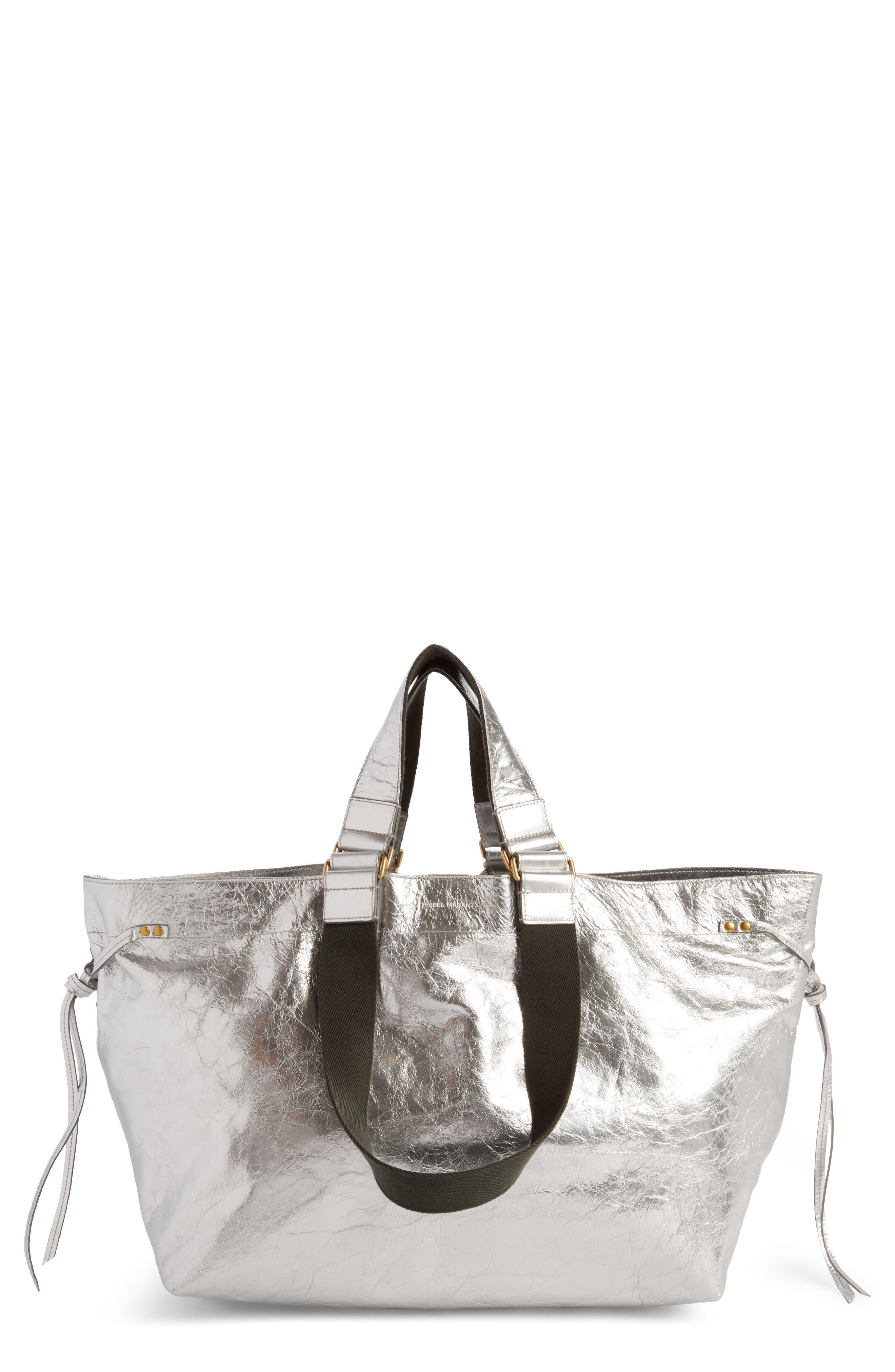 Wardy Metallic Leather Shopper,                         Main,                         color, Silver