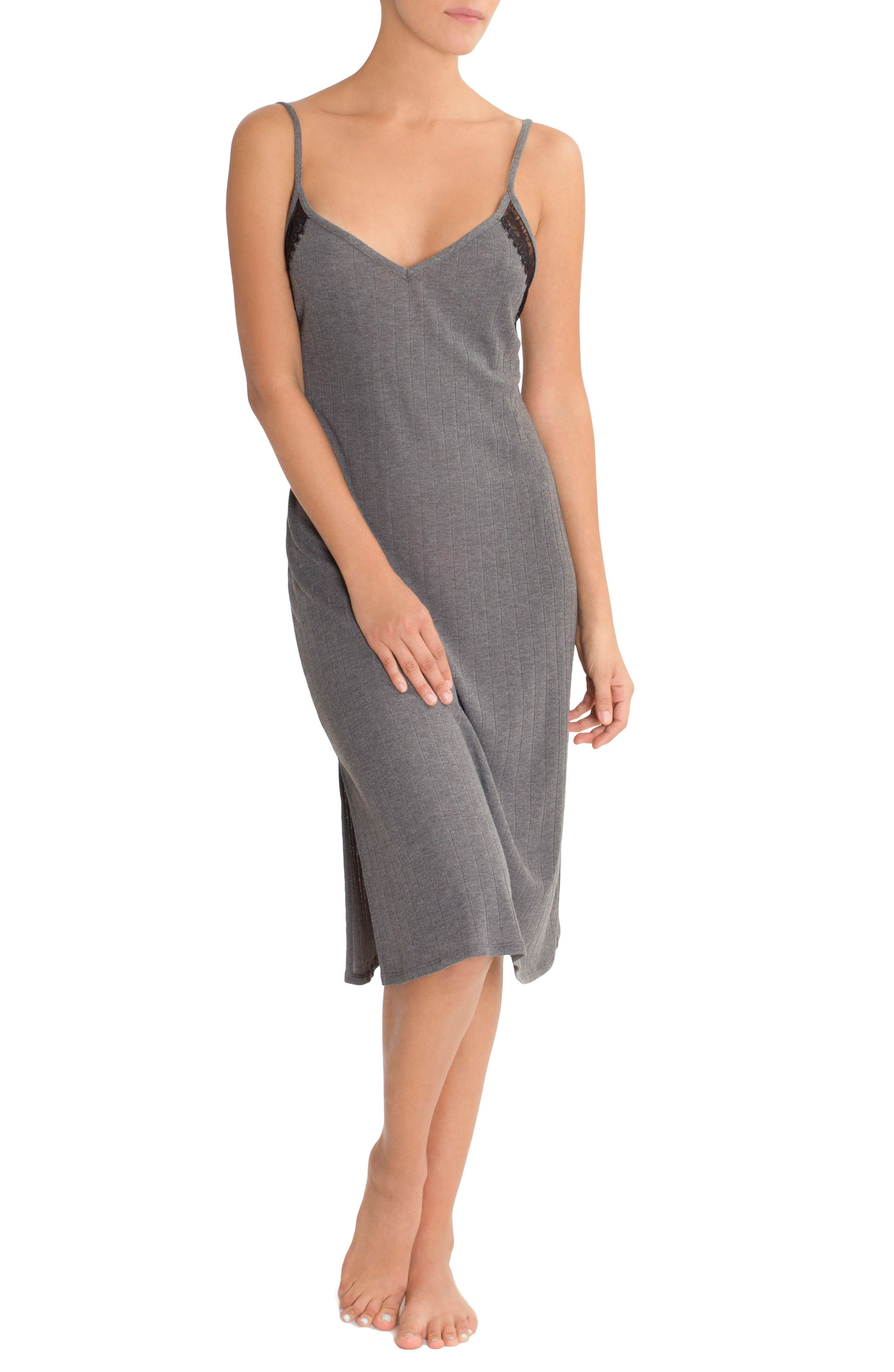 Ribbed Midi Nightgown,                         Main,                         color, Charcoal