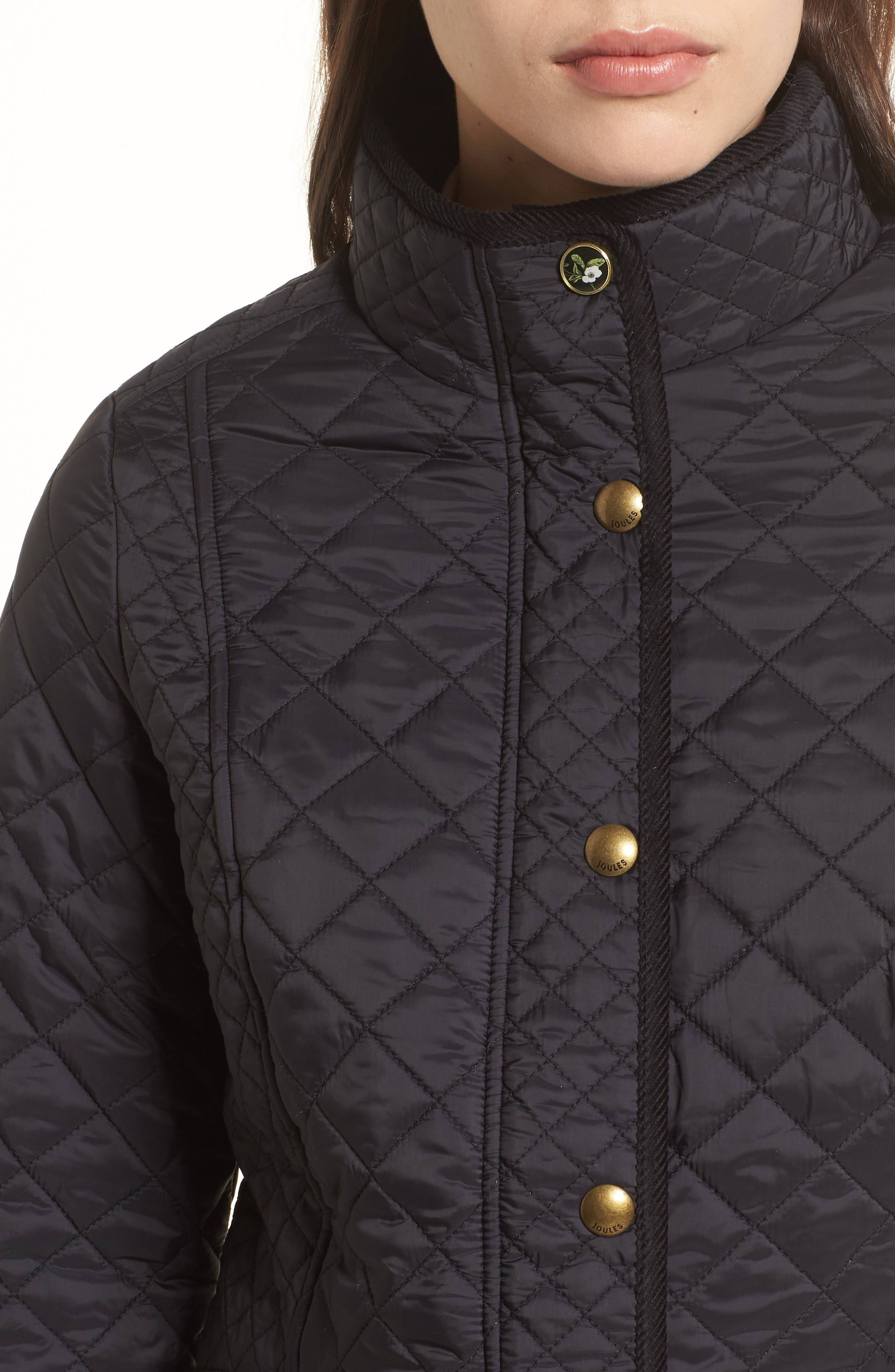 Warm Welcome Quilted Jacket,                             Alternate thumbnail 4, color,                             Black
