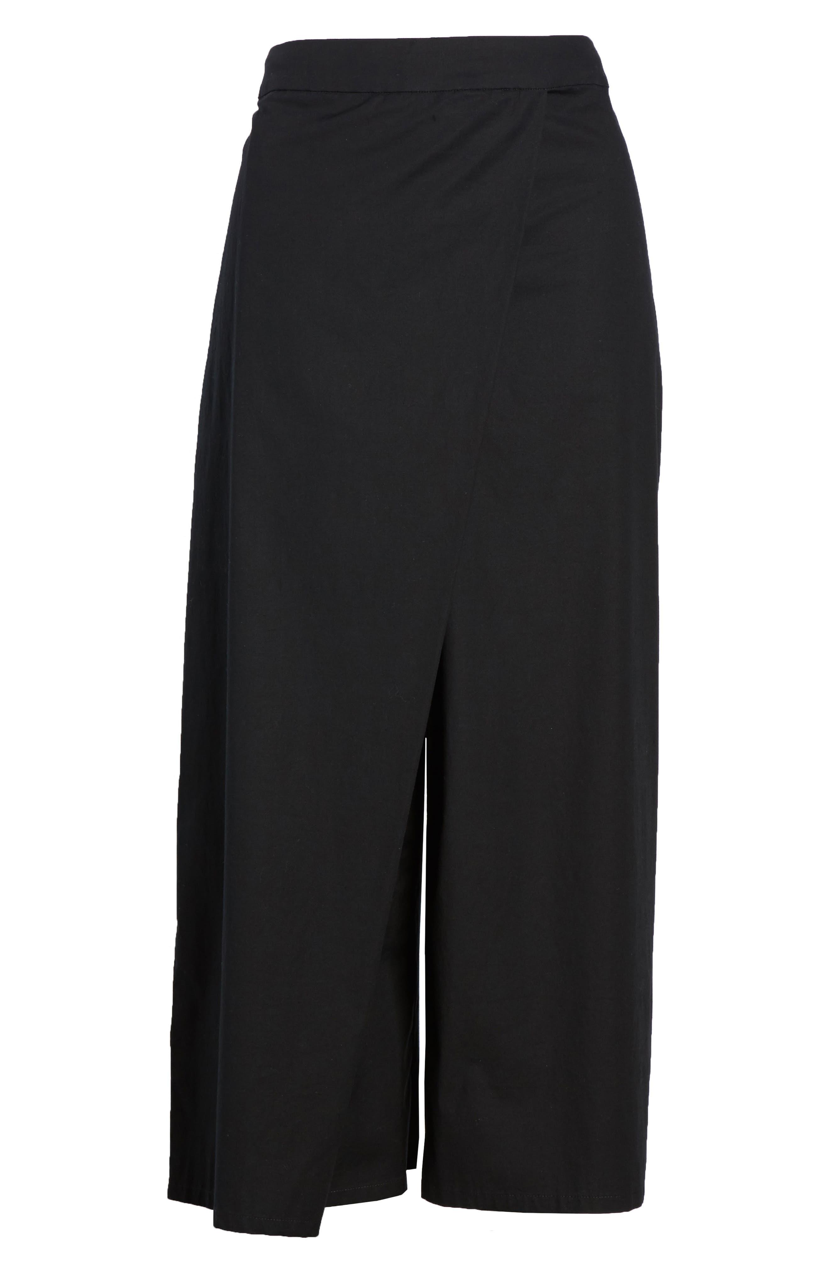 Foldover Wide Leg Crop Pants,                             Alternate thumbnail 7, color,                             Black