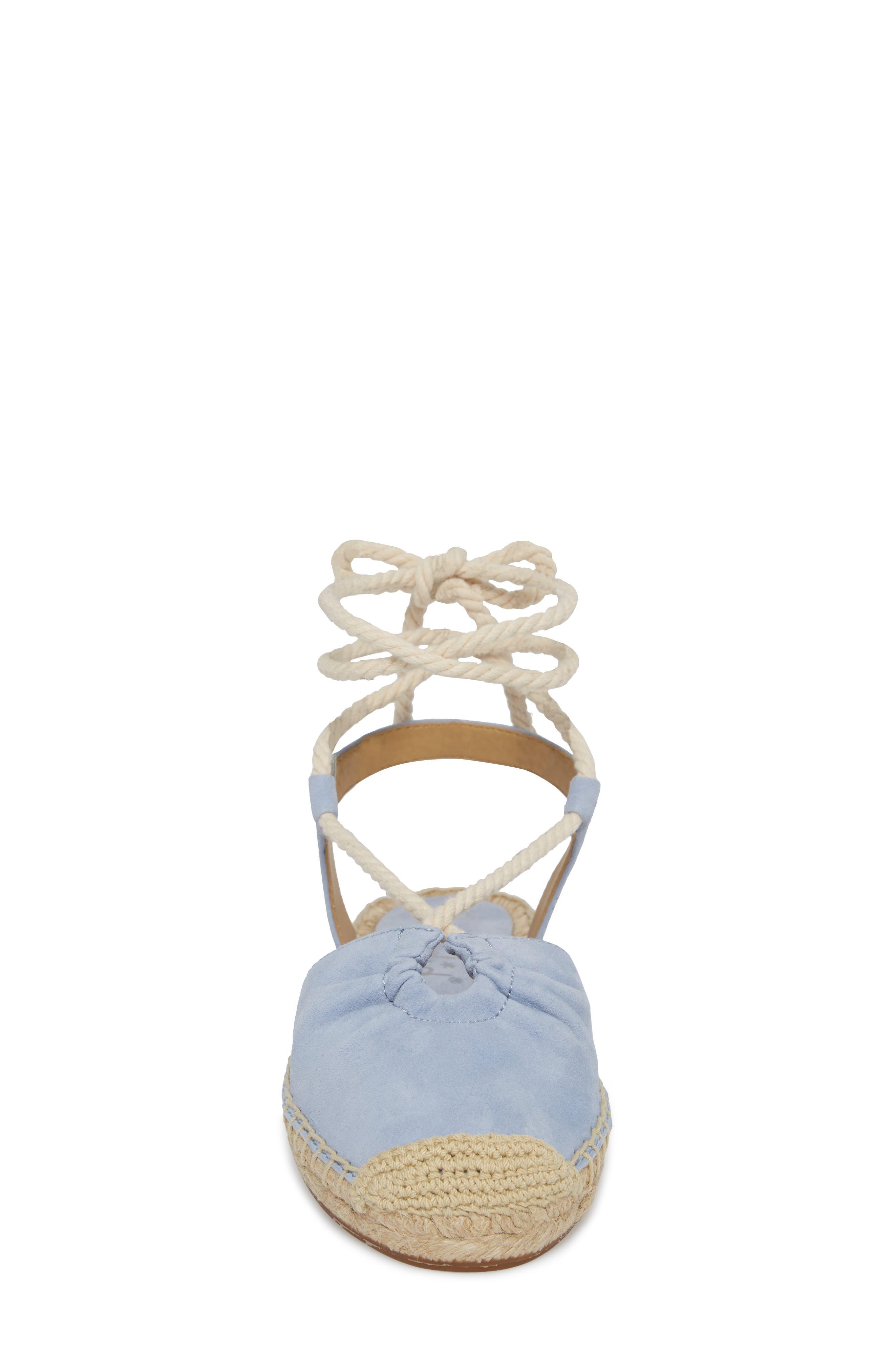 Frey Ankle Tie Espadrille Flat,                             Alternate thumbnail 4, color,                             Lavender Blue Suede
