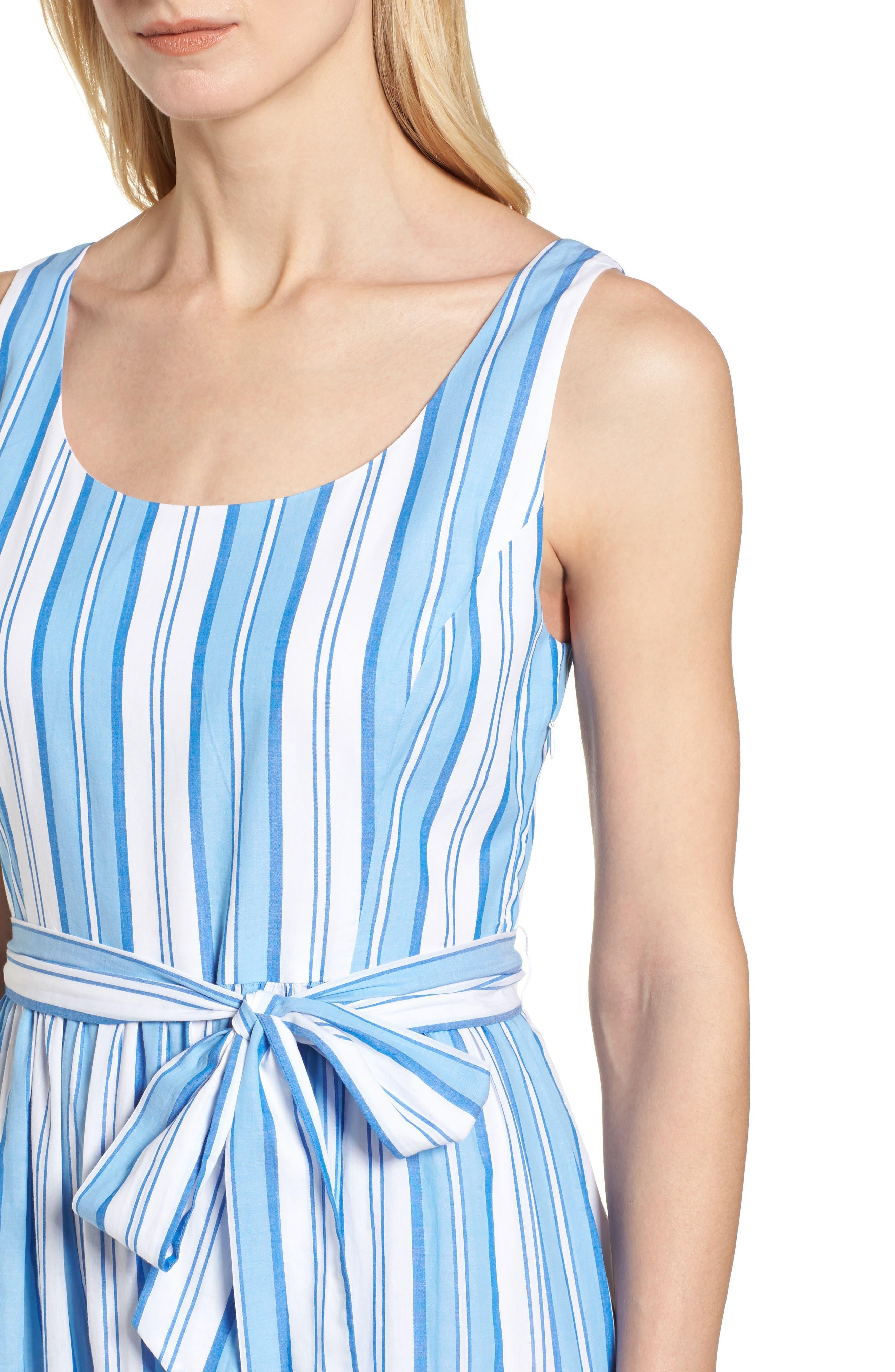 Ocean Stripe Tiered Maxi Dress,                             Alternate thumbnail 4, color,                             Blue Jay