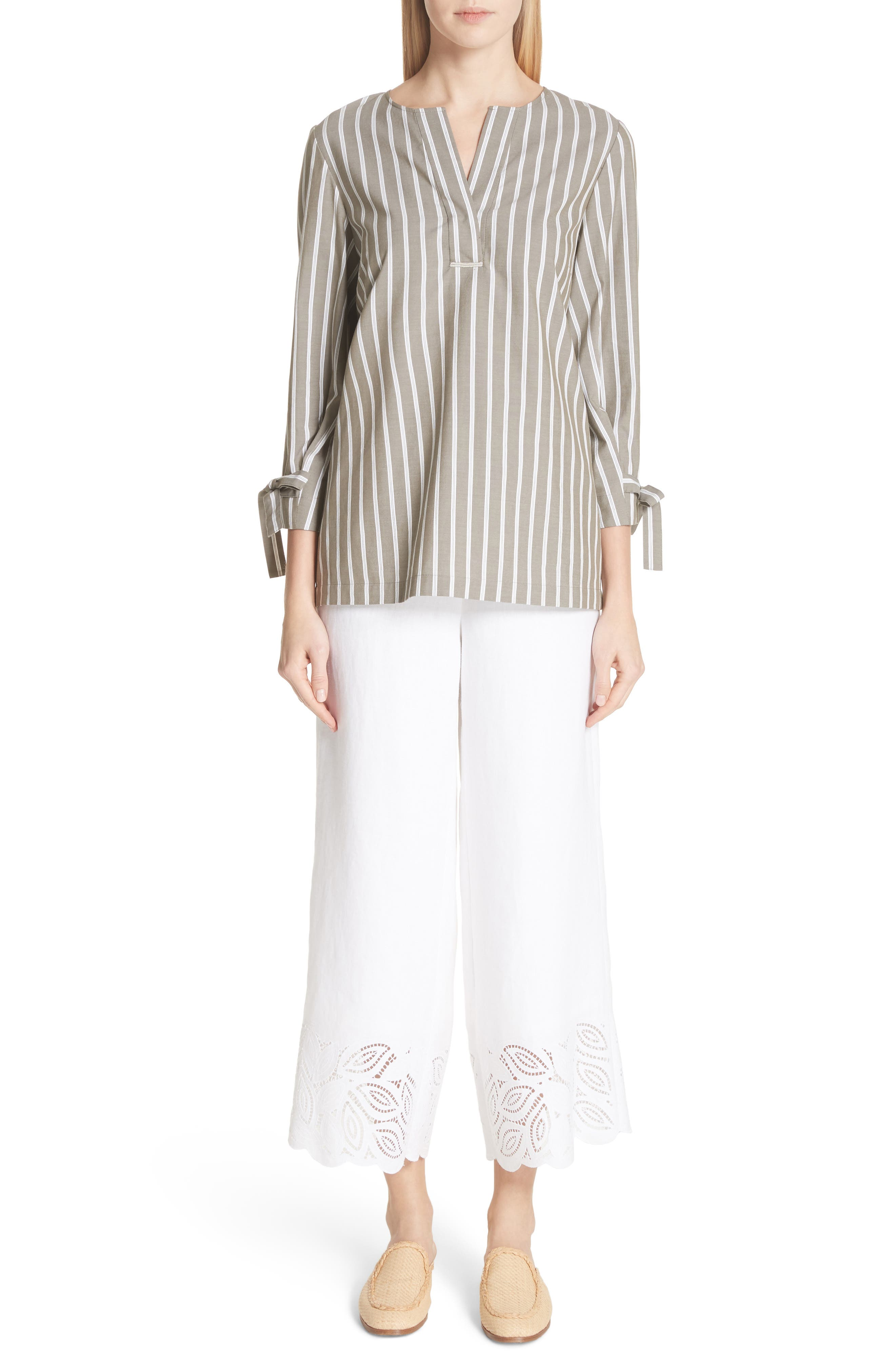 Morton Embroidered Pants,                             Alternate thumbnail 7, color,                             White