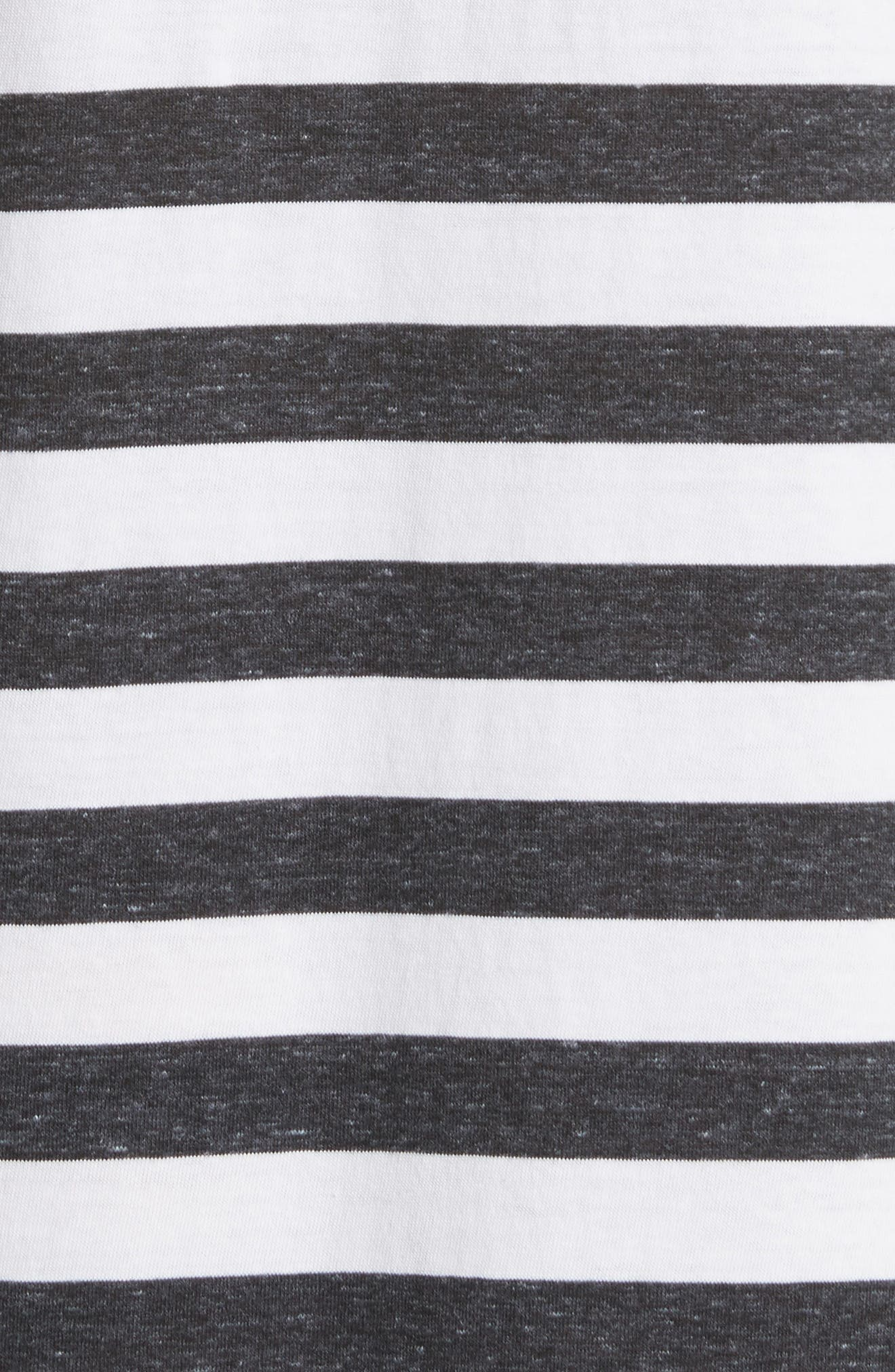 The Knotted Tee Dress,                             Alternate thumbnail 6, color,                             Charcoal Stripe