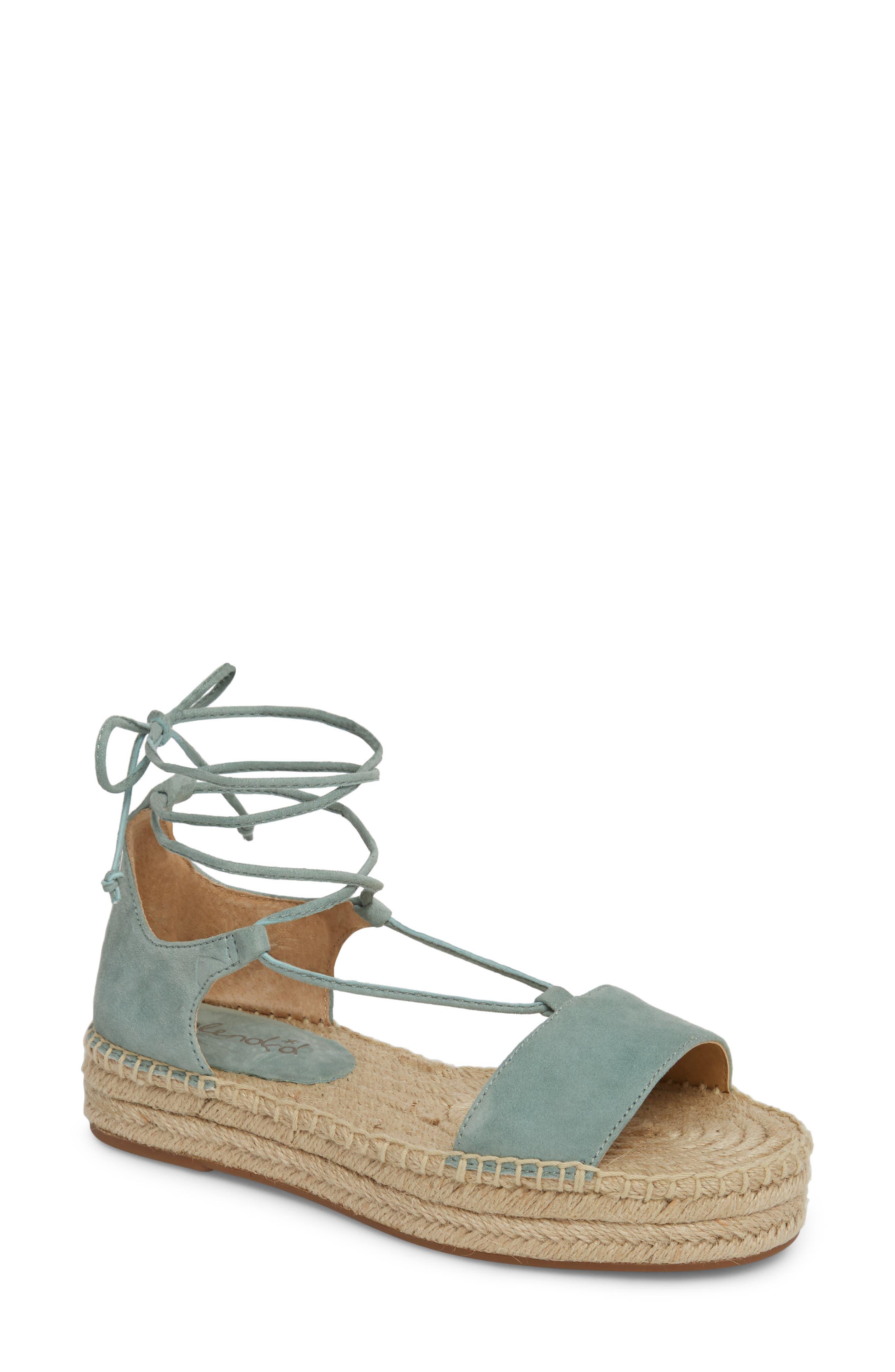 Fernanda Wraparound Platform Sandal,                             Main thumbnail 1, color,                             Deco Green Suede