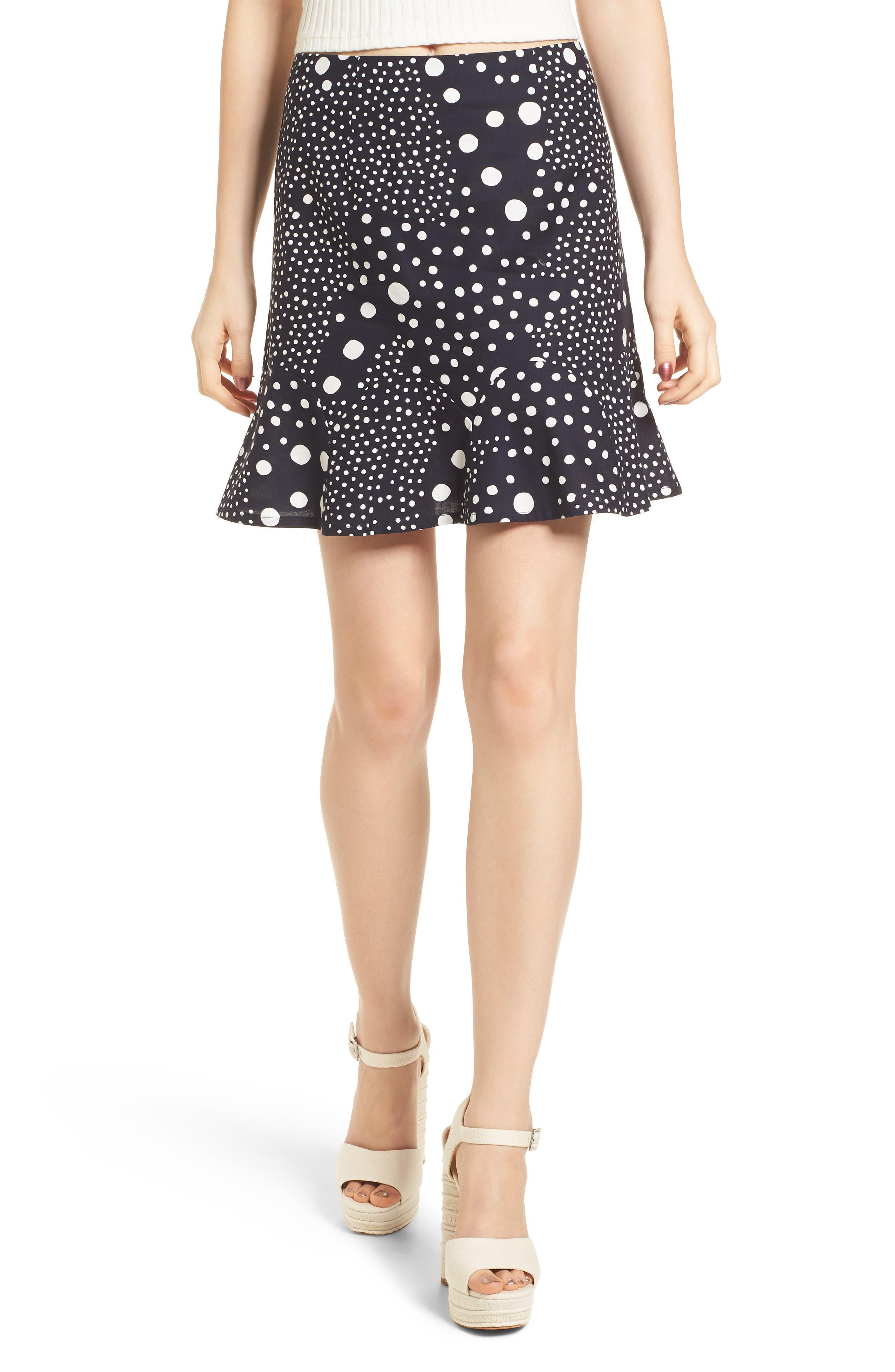Lagoon Polka Dot Miniskirt,                         Main,                         color, Navy Pebble