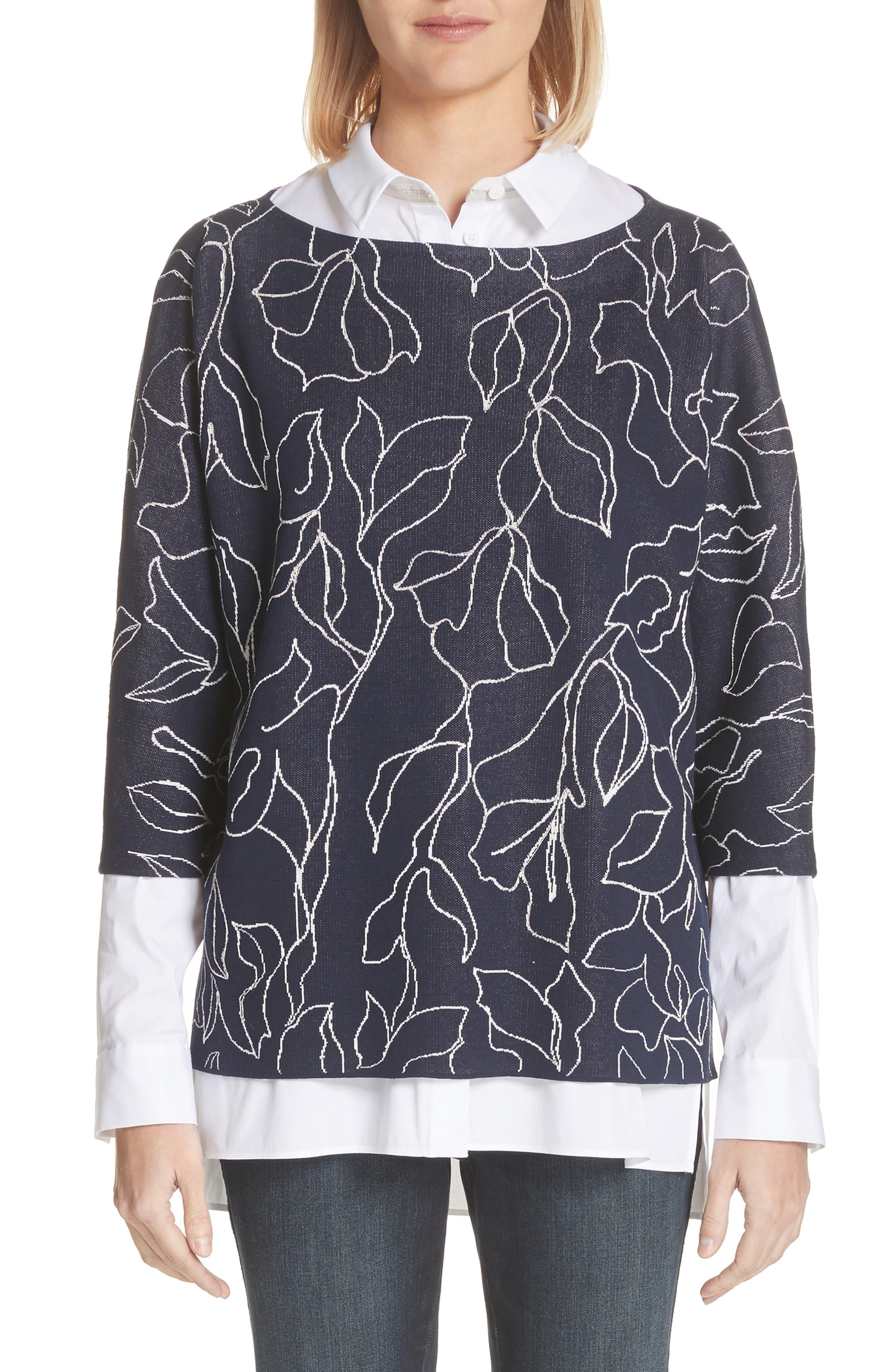 Chain Detail Floral Jacquard Sweater,                         Main,                         color, Nordic Multi