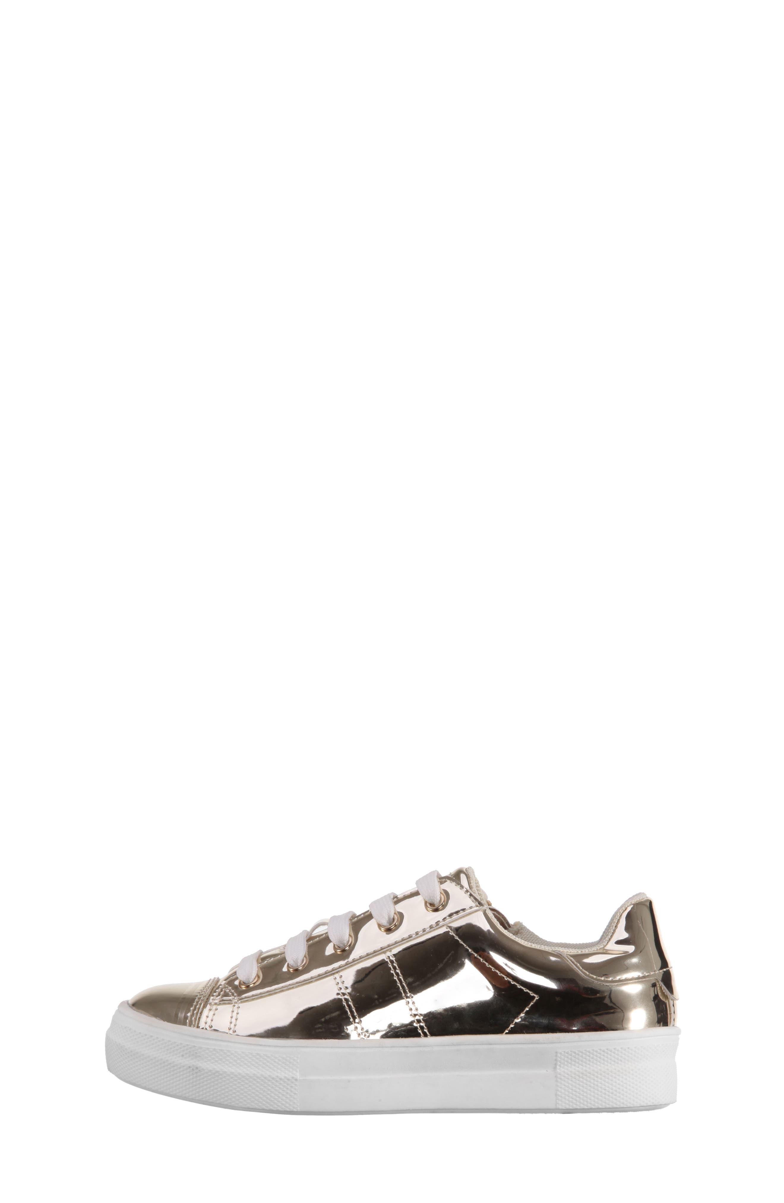 Rochella Metallic Sneaker,                             Alternate thumbnail 3, color,                             Platino Mirror Metallic