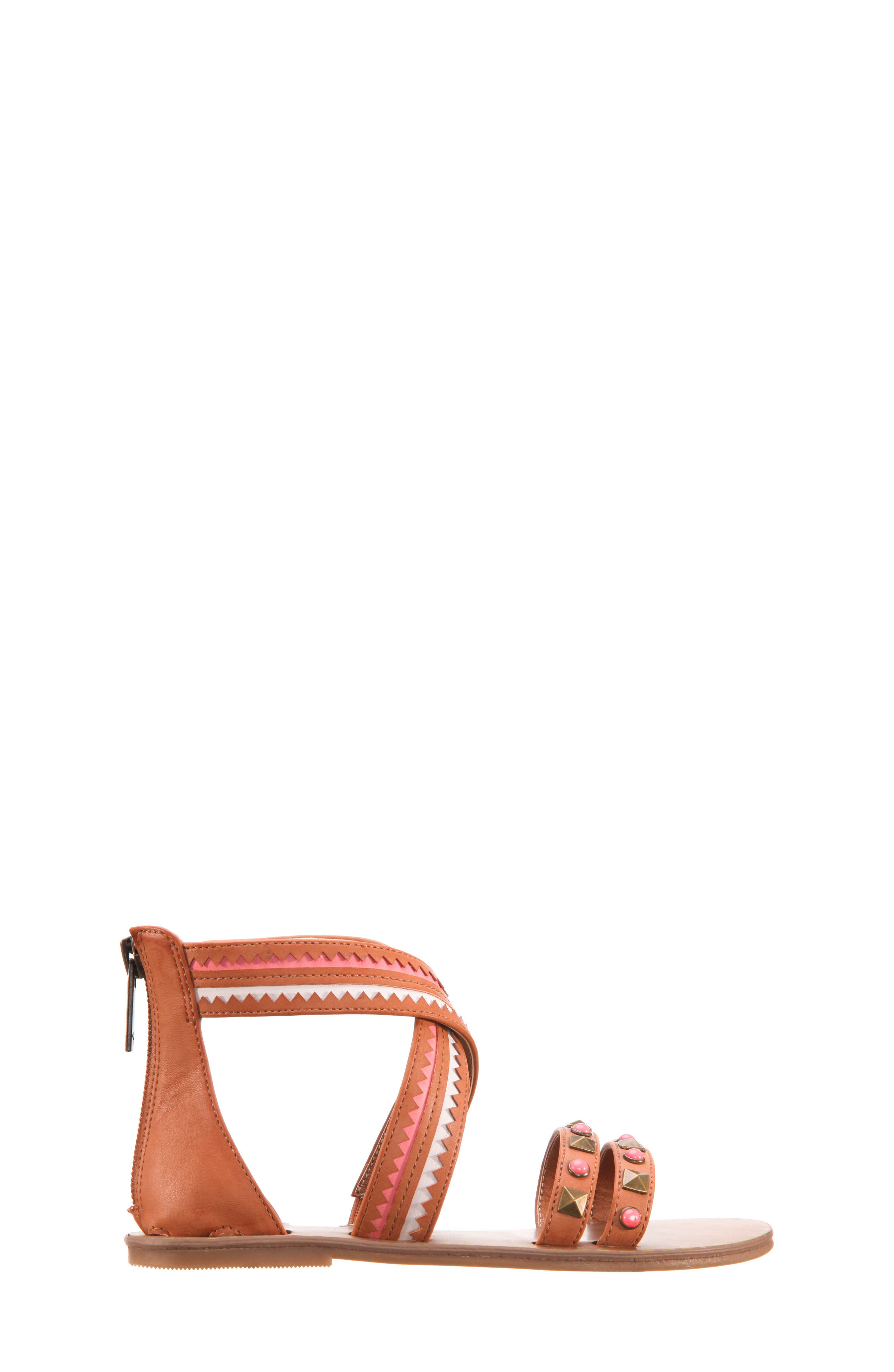 Phelisha Embellished Gladiator Sandal,                             Alternate thumbnail 3, color,                             Tan Burnished
