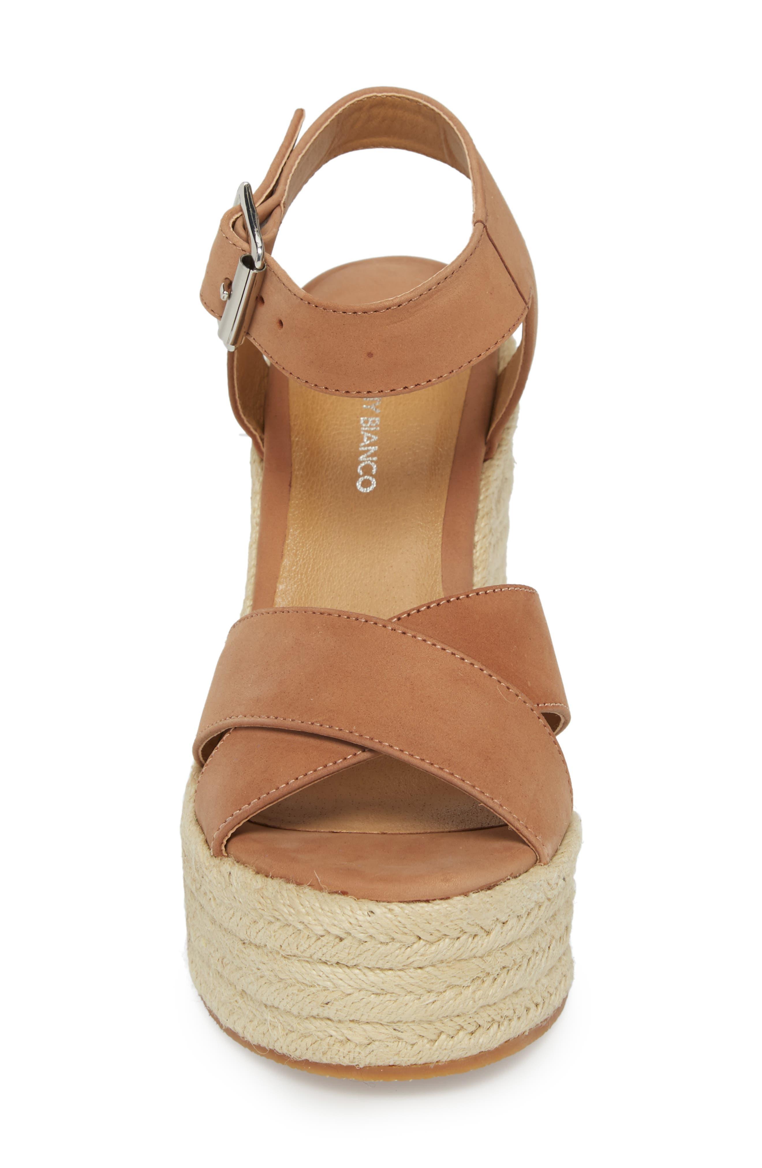 Boston Espadrille Wedge Sandal,                             Alternate thumbnail 4, color,                             Caramel Phoenix Leather