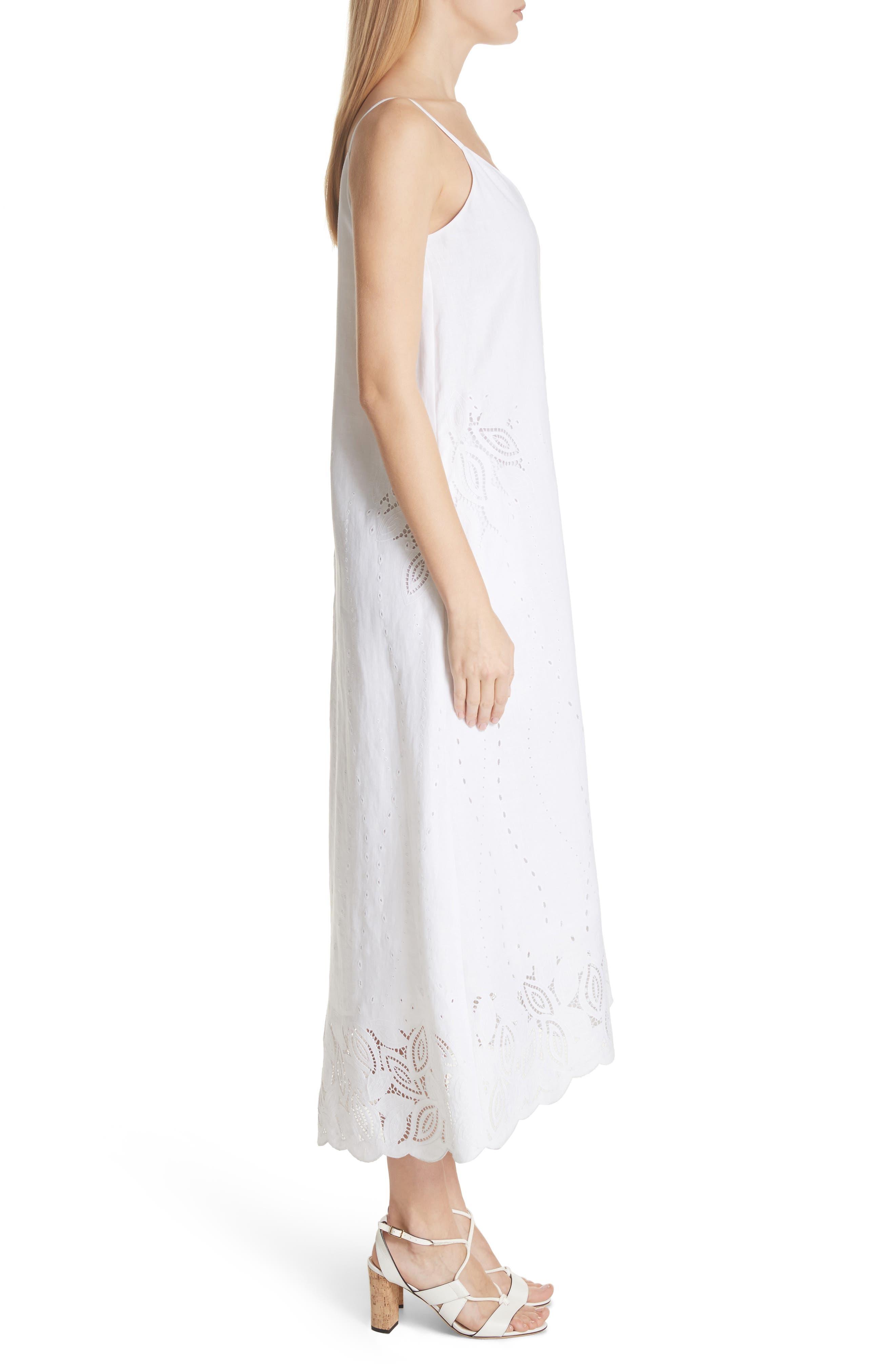 Dominique Linen Cutwork Dress,                             Alternate thumbnail 3, color,                             White