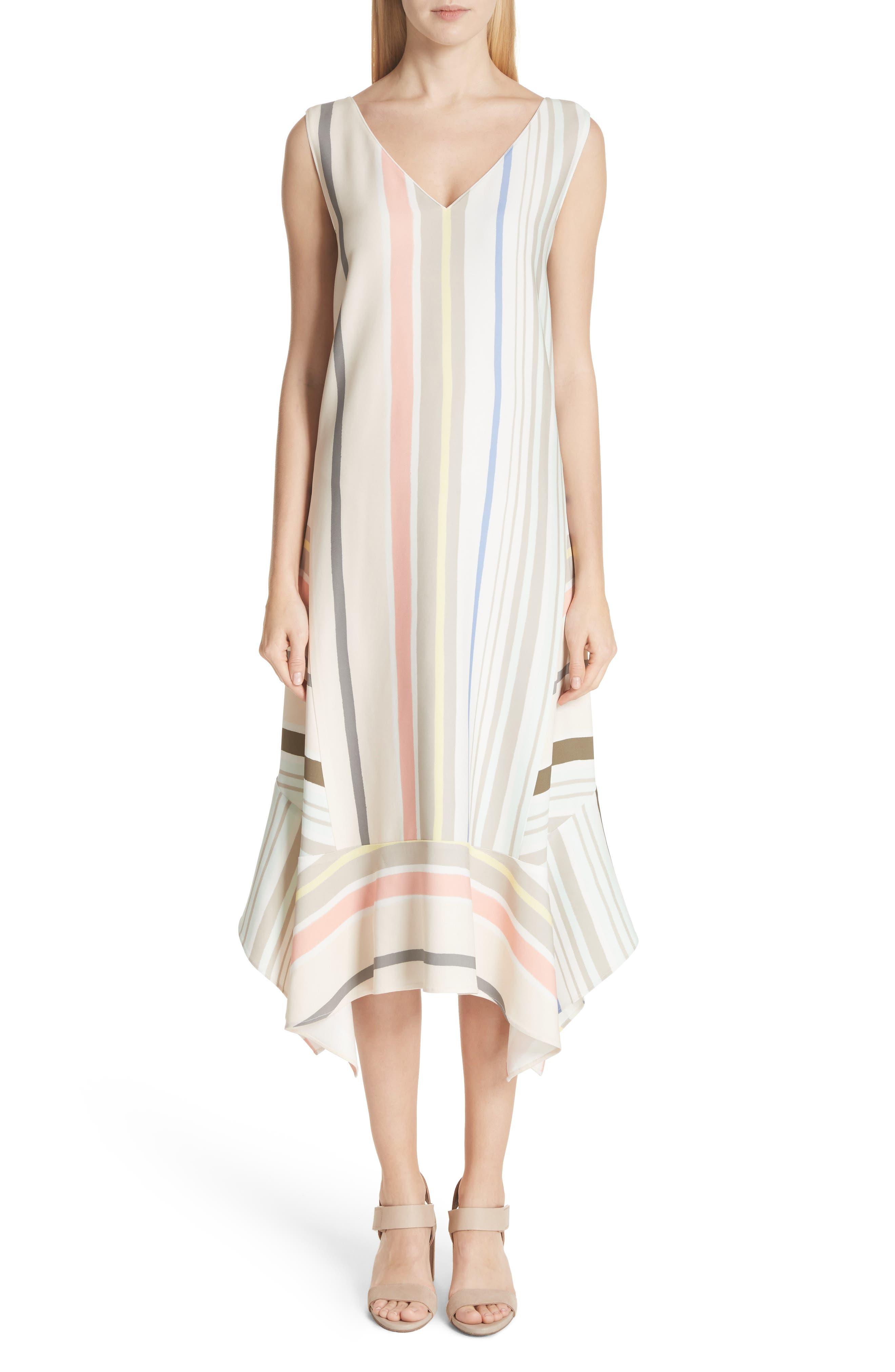 Mesa Stripe Midi Dress,                             Main thumbnail 1, color,                             Khaki Multi