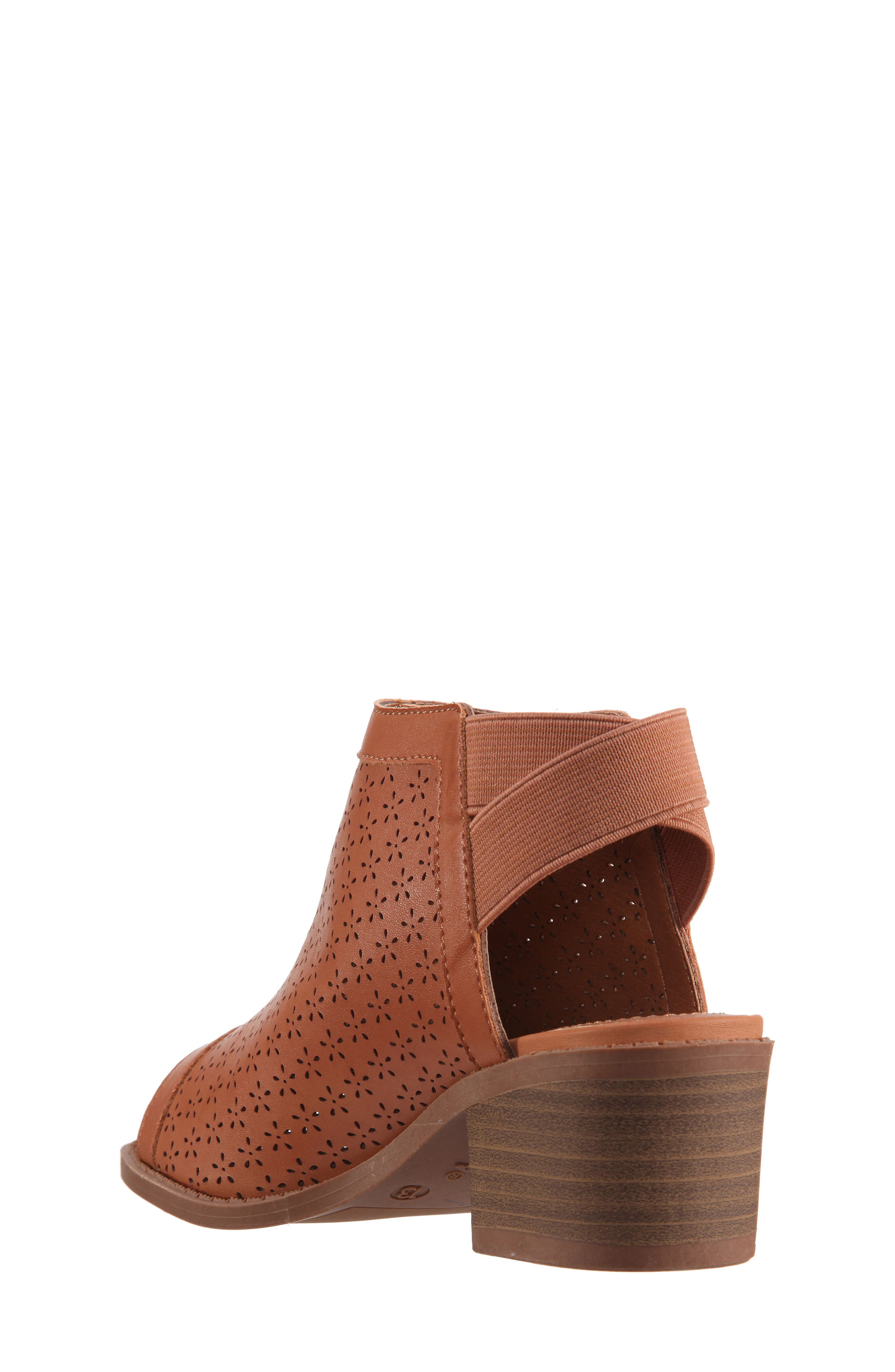 Maya Perforated Peep Toe Bootie,                             Alternate thumbnail 2, color,                             Tan Burnished