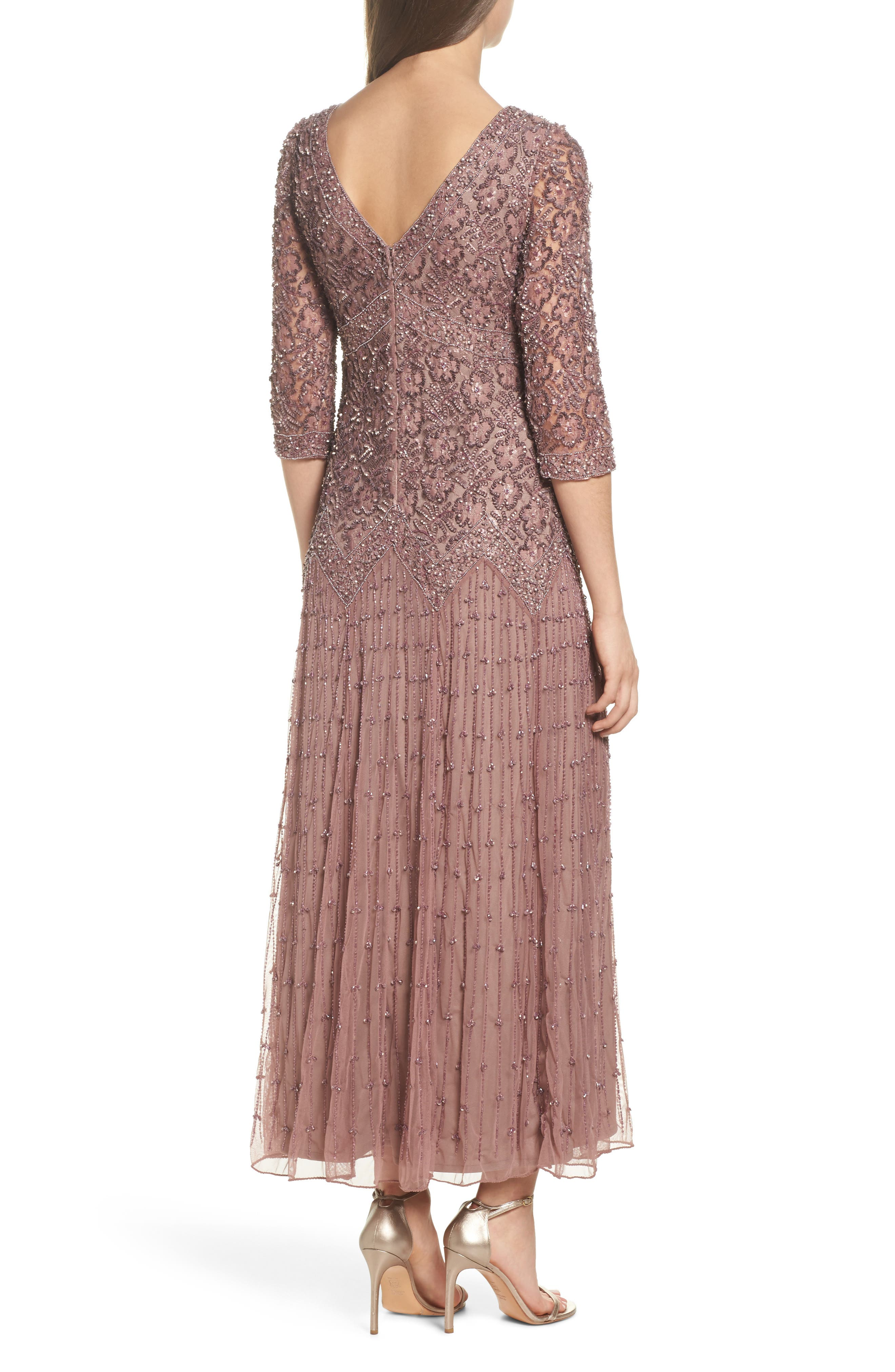 Alternate Image 2  - Pisarro Nights Beaded Mesh Dress (Regular & Petite)