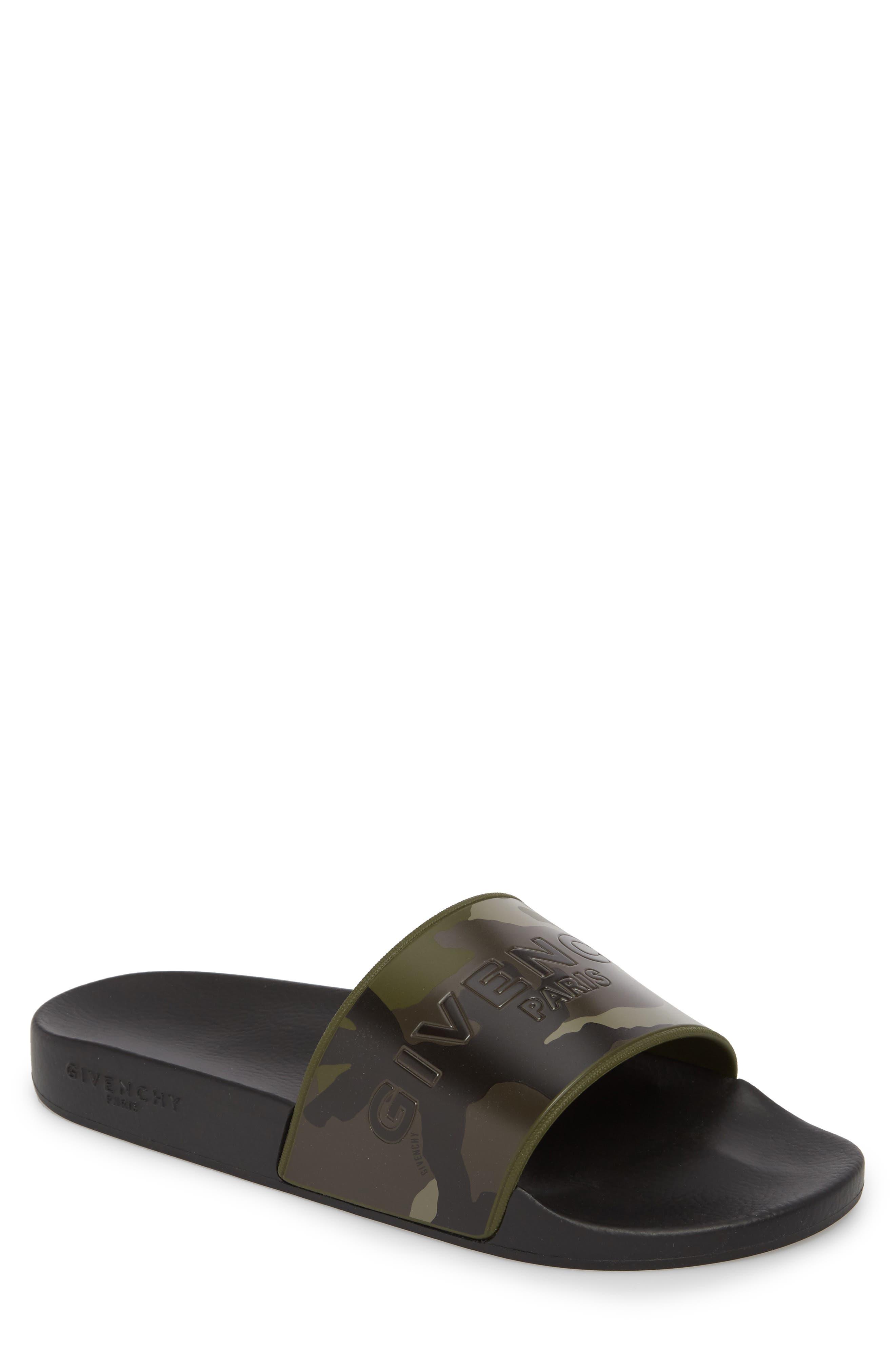 Camo Logo Pool Sandal,                             Main thumbnail 1, color,                             Black/ Khaki