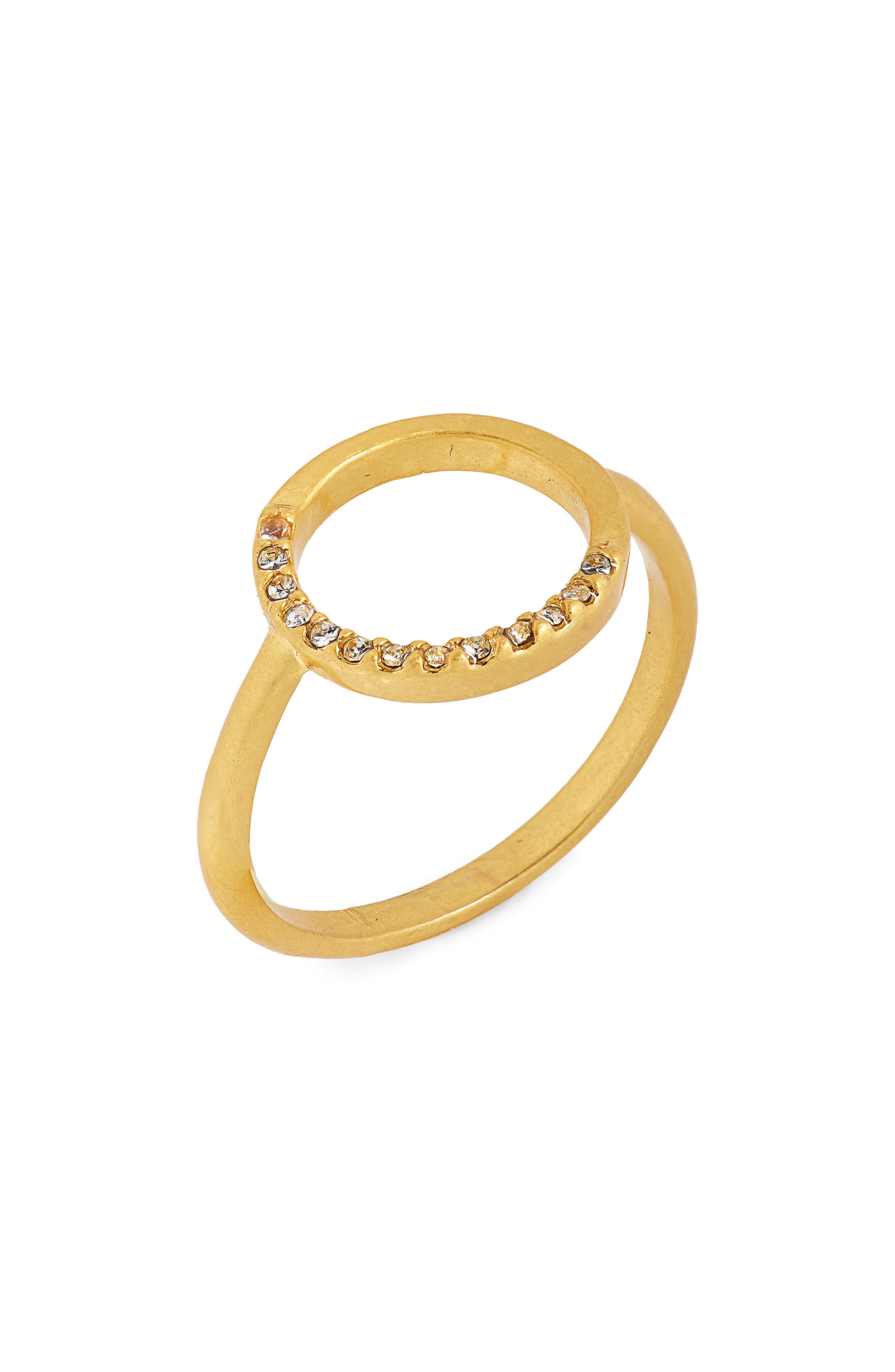 Luster Circle Pavé Ring,                         Main,                         color, Vintage Gold