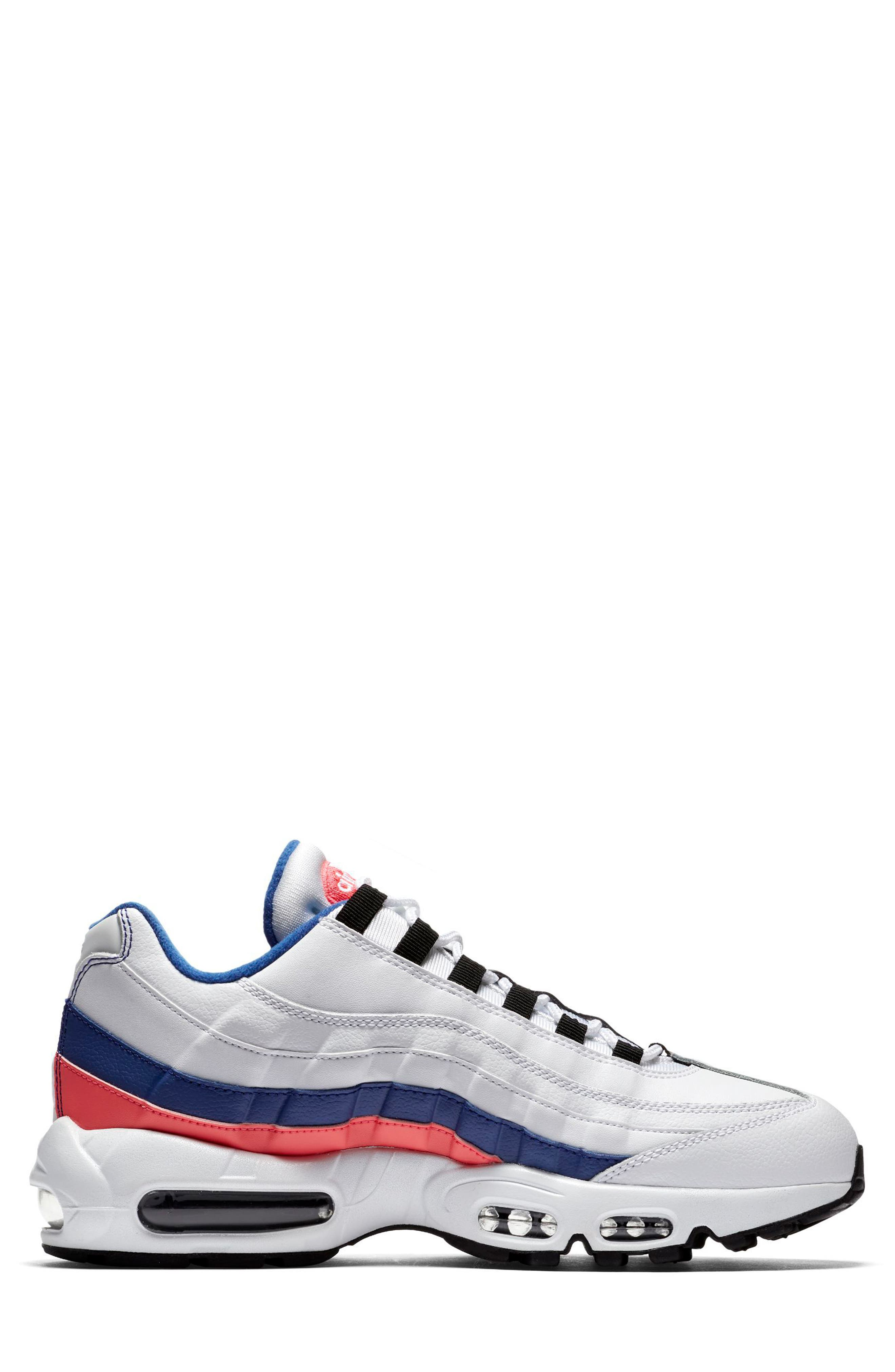 Air Max 95 Essential Sneaker,                             Alternate thumbnail 3, color,                             White/ Black/ Solar Red
