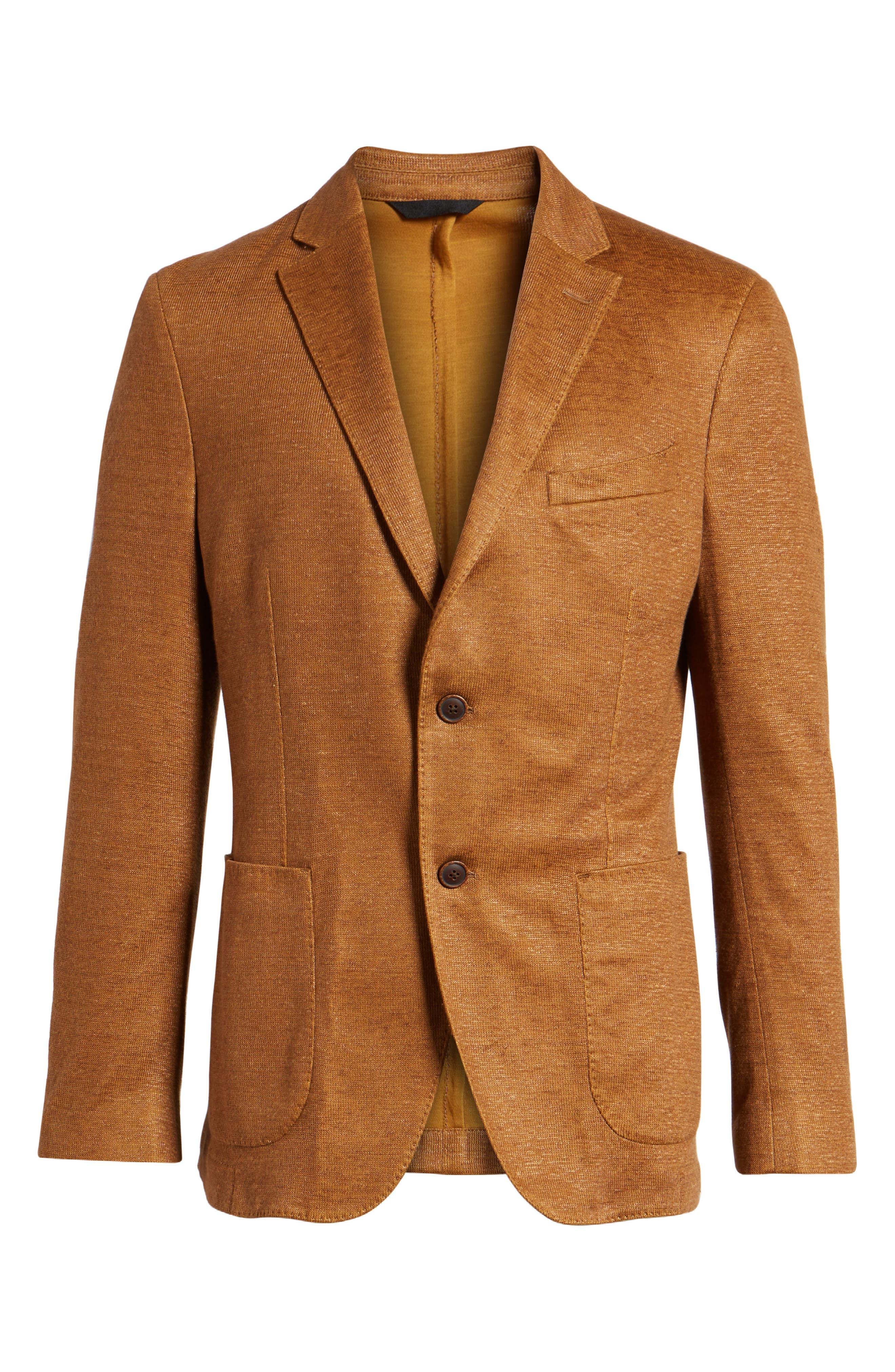 Trim Fit Heathered Jersey Blazer,                             Alternate thumbnail 6, color,                             Burnt Sienna