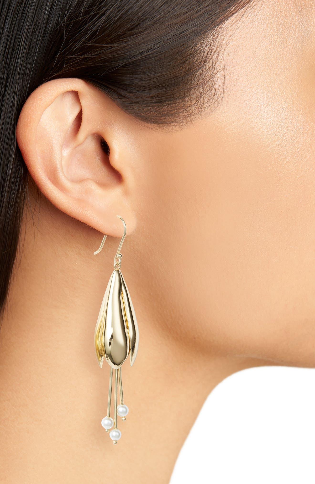 Floral Drop Earrings,                             Alternate thumbnail 2, color,                             Gold