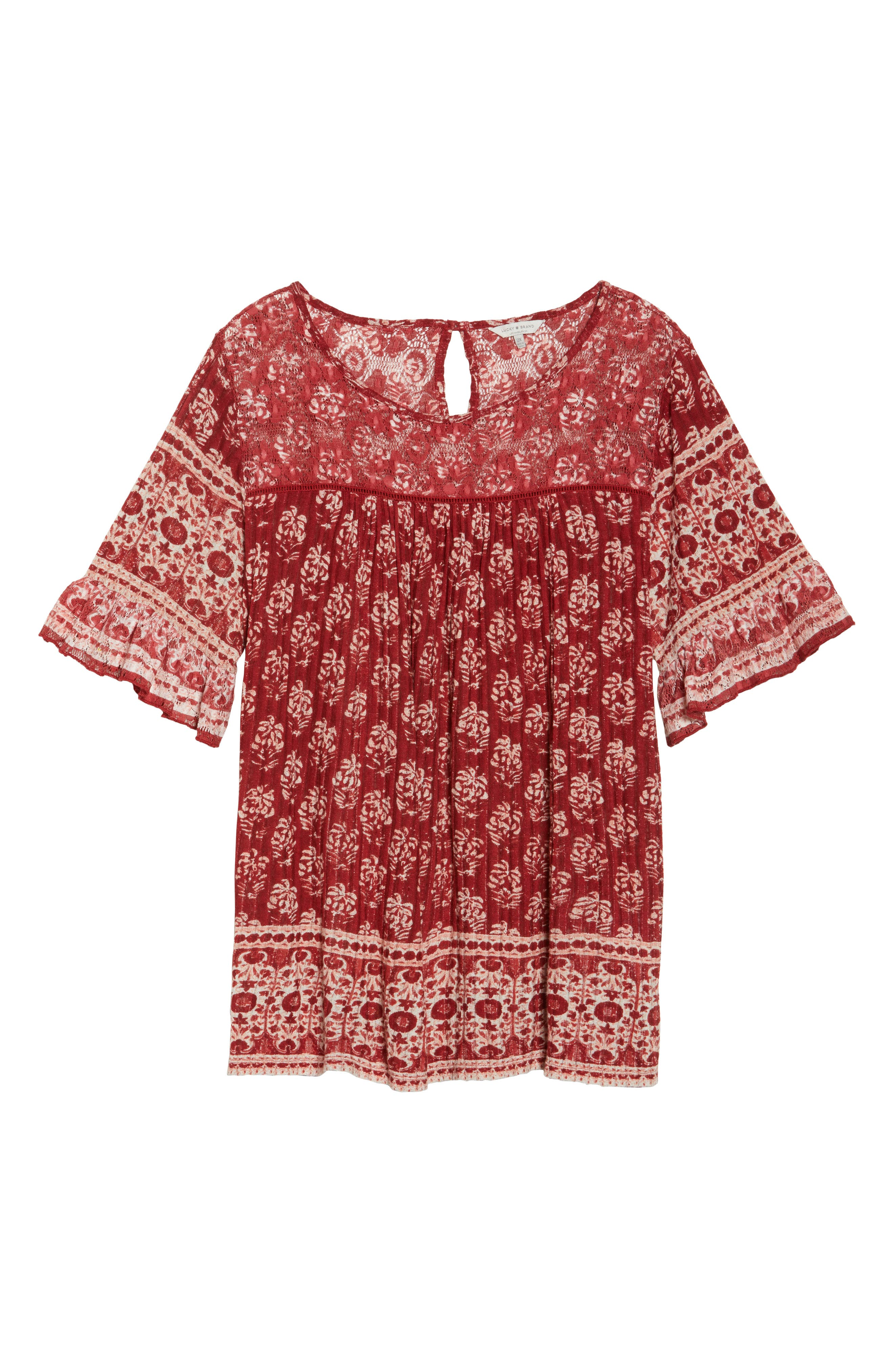 Alternate Image 6  - Lucky Brand Print Top (Plus Size)