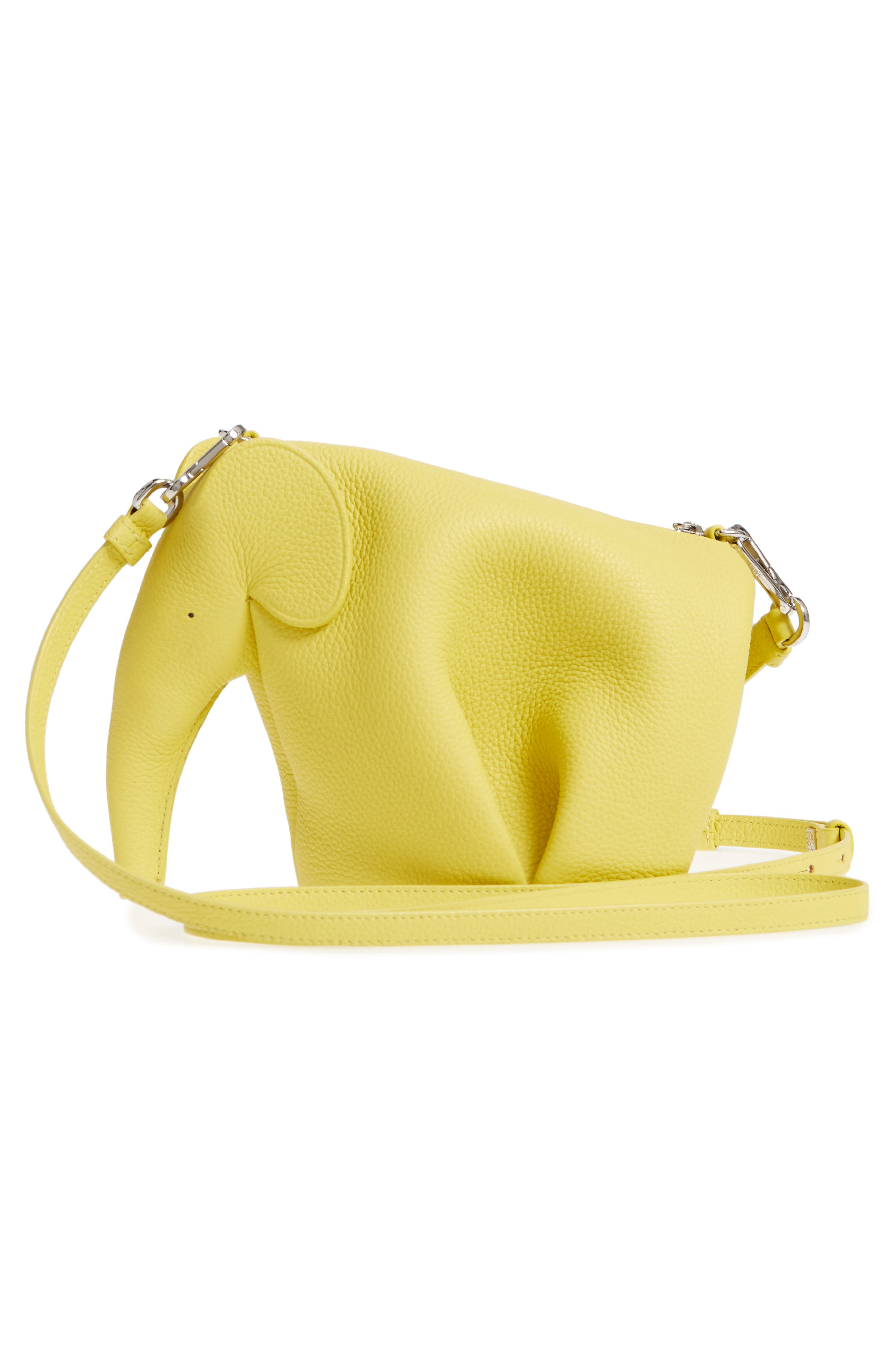 Mini Elephant Calfskin Crossbody Bag,                             Alternate thumbnail 3, color,                             Yellow Lemon