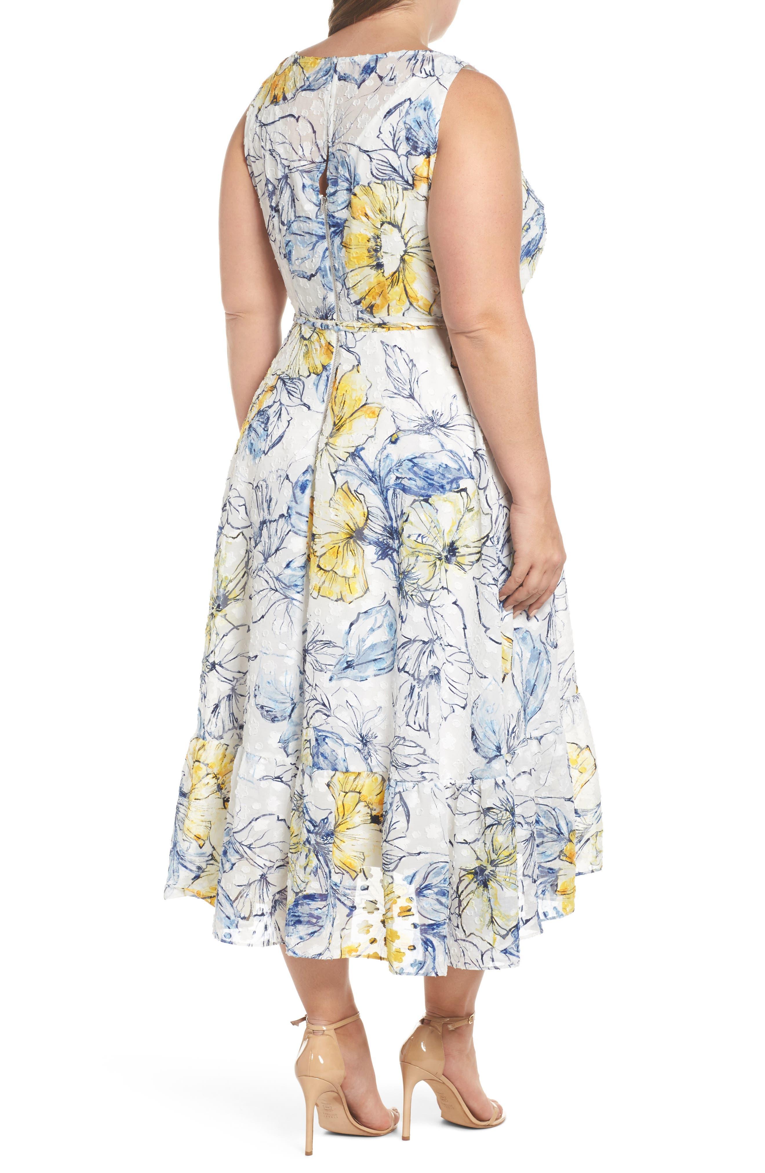 Floral Print High/Low Midi Dress,                             Alternate thumbnail 2, color,                             Denim/ Sun