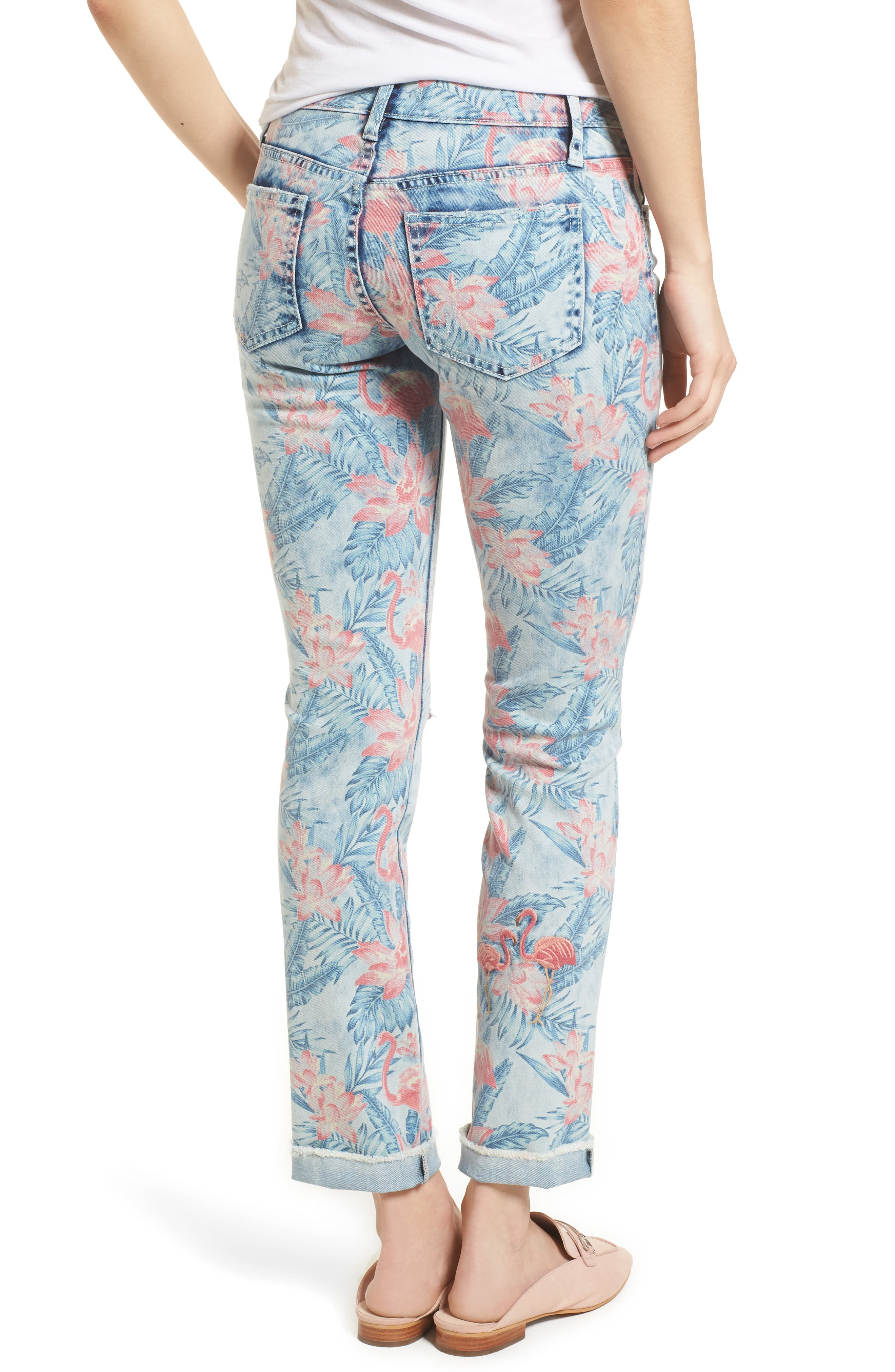 Embroidered Distressed Flamingo Jeans,                             Alternate thumbnail 2, color,                             Light Blue Paradise