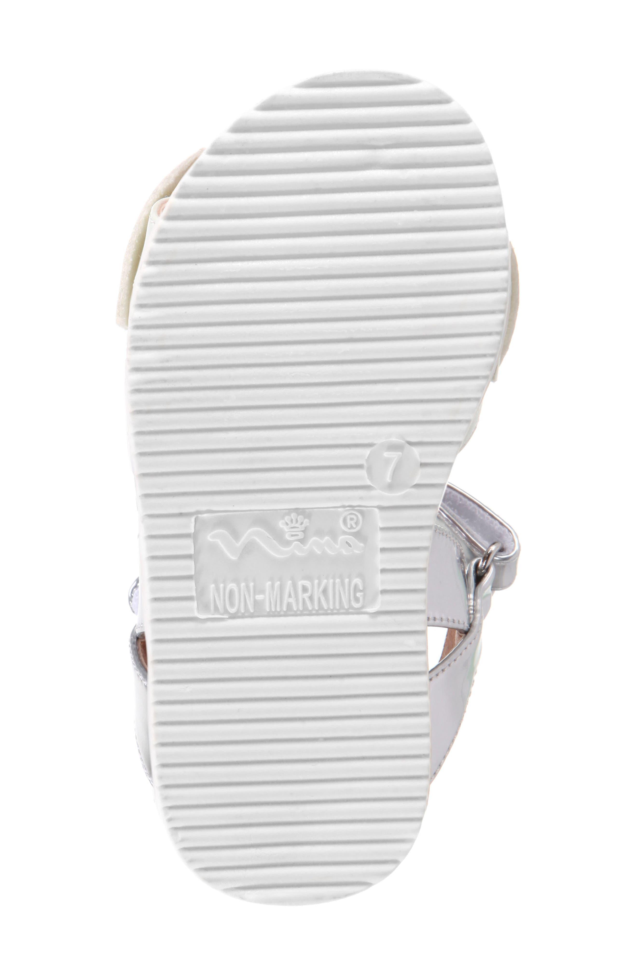 Kaitylyn Bow Sandal,                             Alternate thumbnail 6, color,                             White Metallic/ Silver