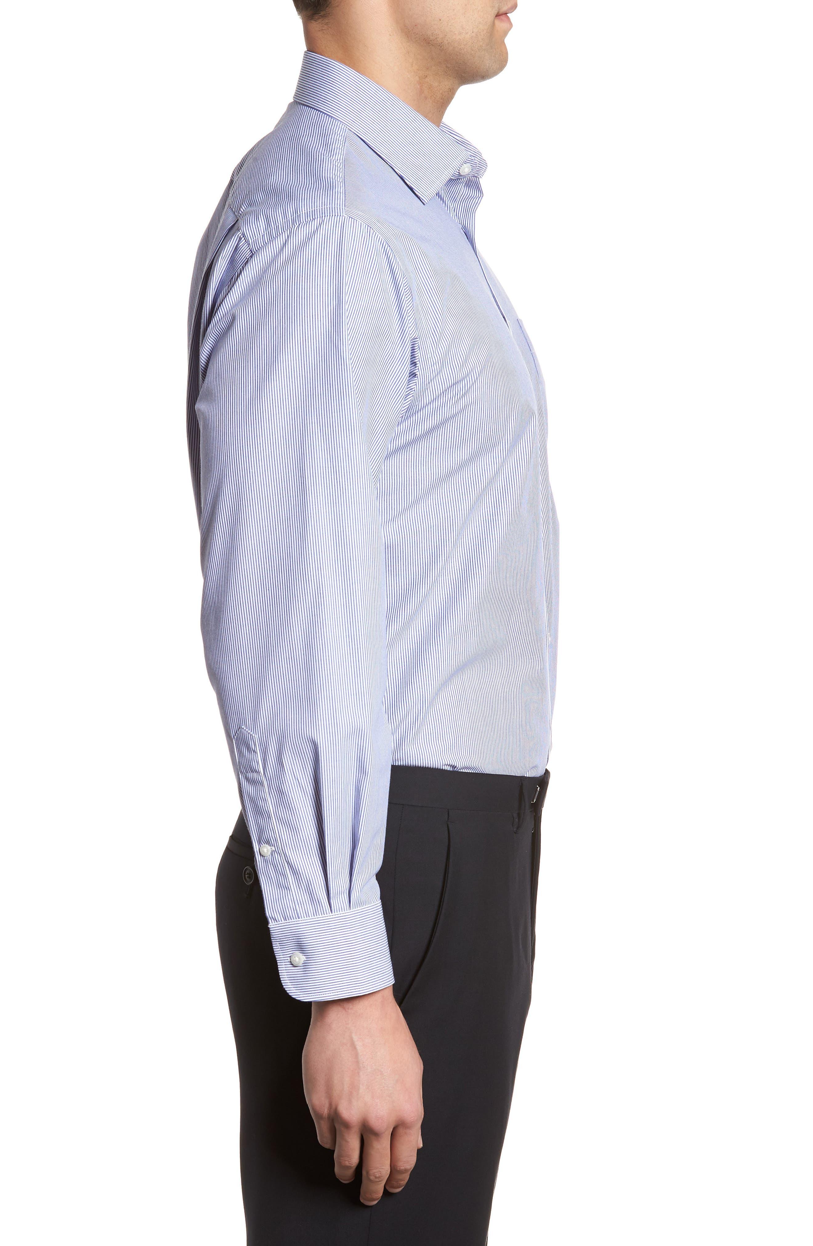 Classic Fit Non-Iron Stripe Dress Shirt,                             Alternate thumbnail 4, color,                             Navy Dusk